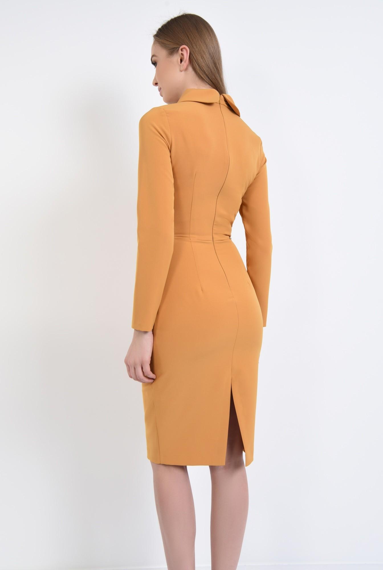 1 - rochie casual, galben, mustar, maneci lungi, guler, funda