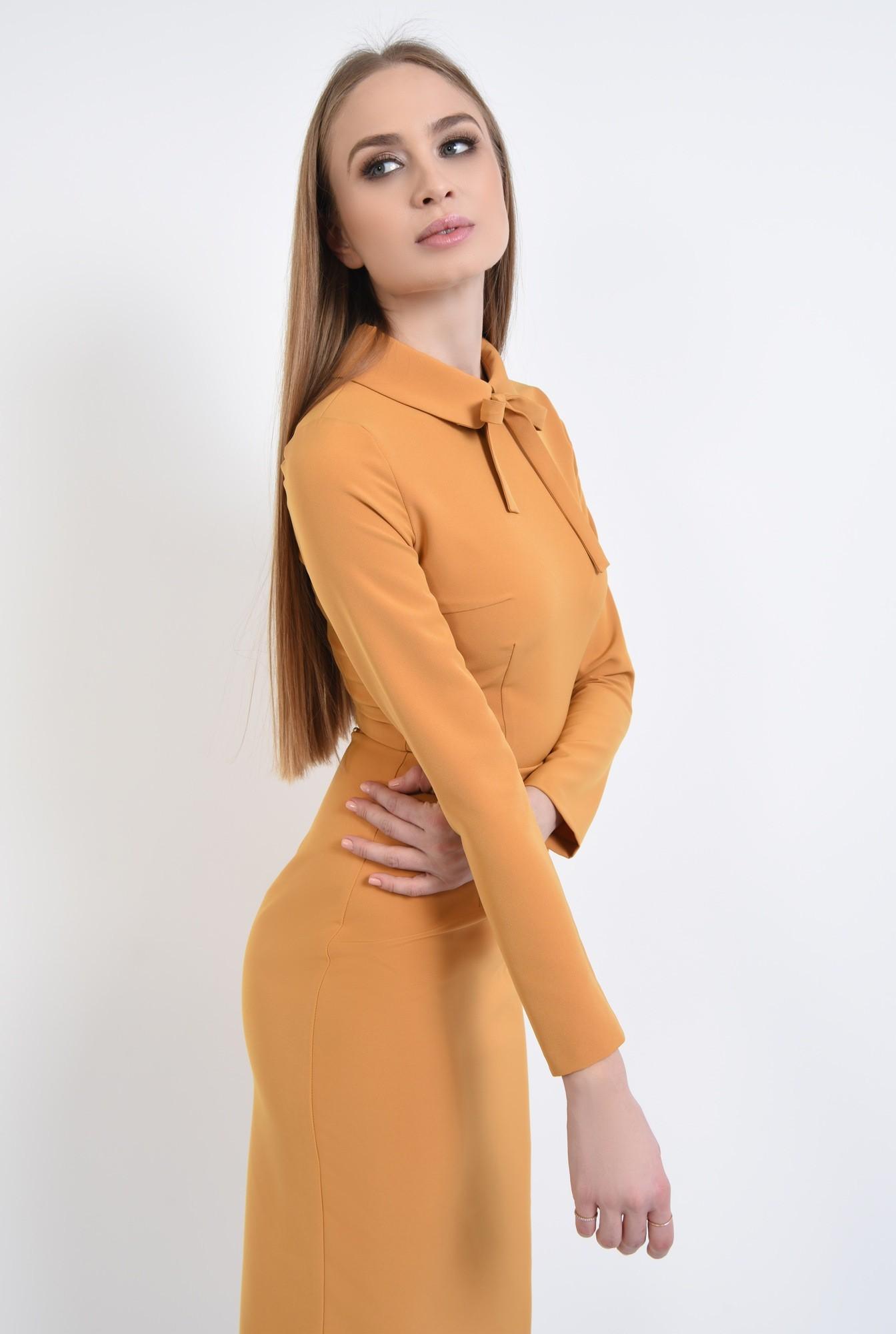 2 - rochie casual, galben, mustar, maneci lungi, guler, funda