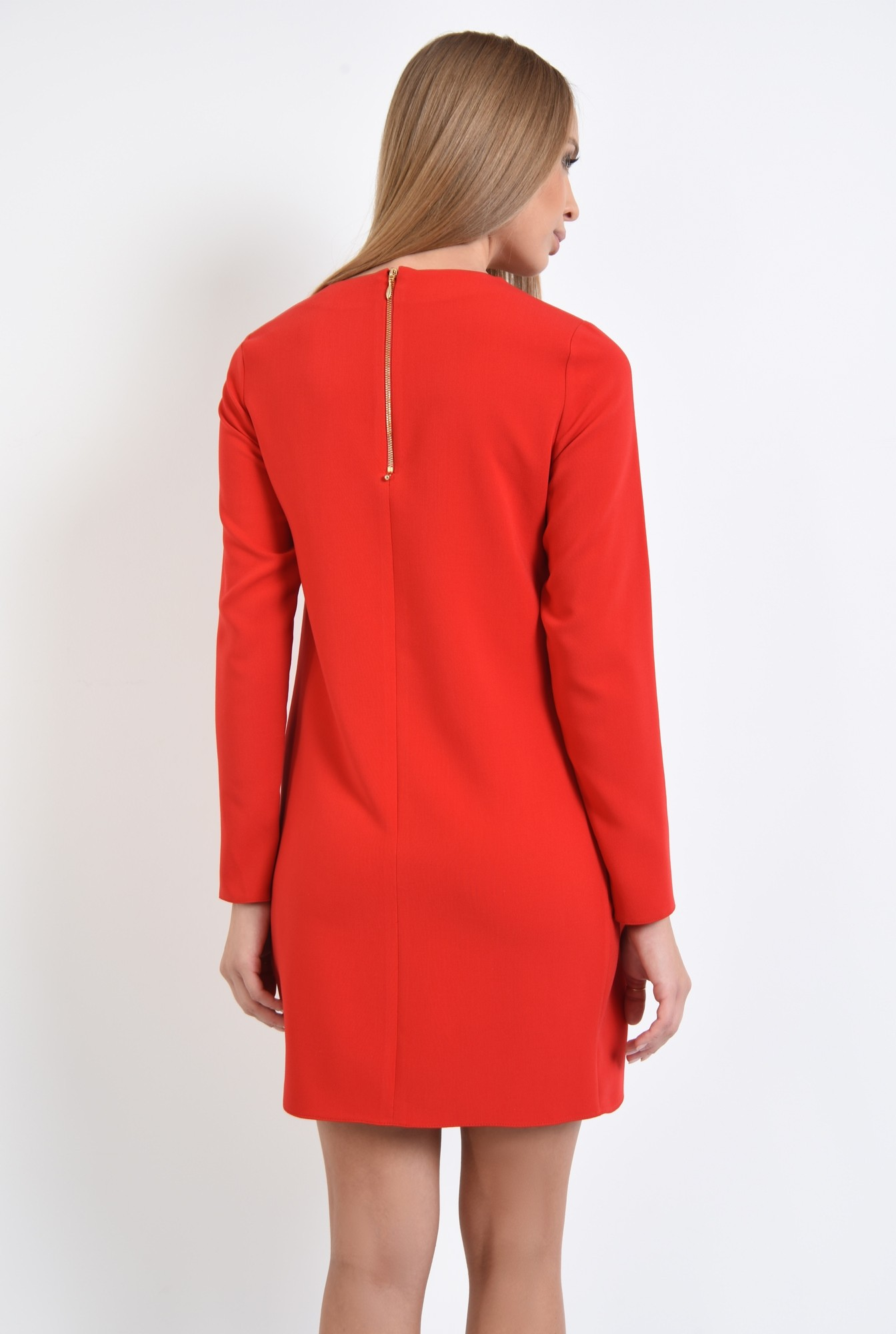 1 - rochie casual, mini, rosu, maneci lungi, decolteu rotund, pliuri