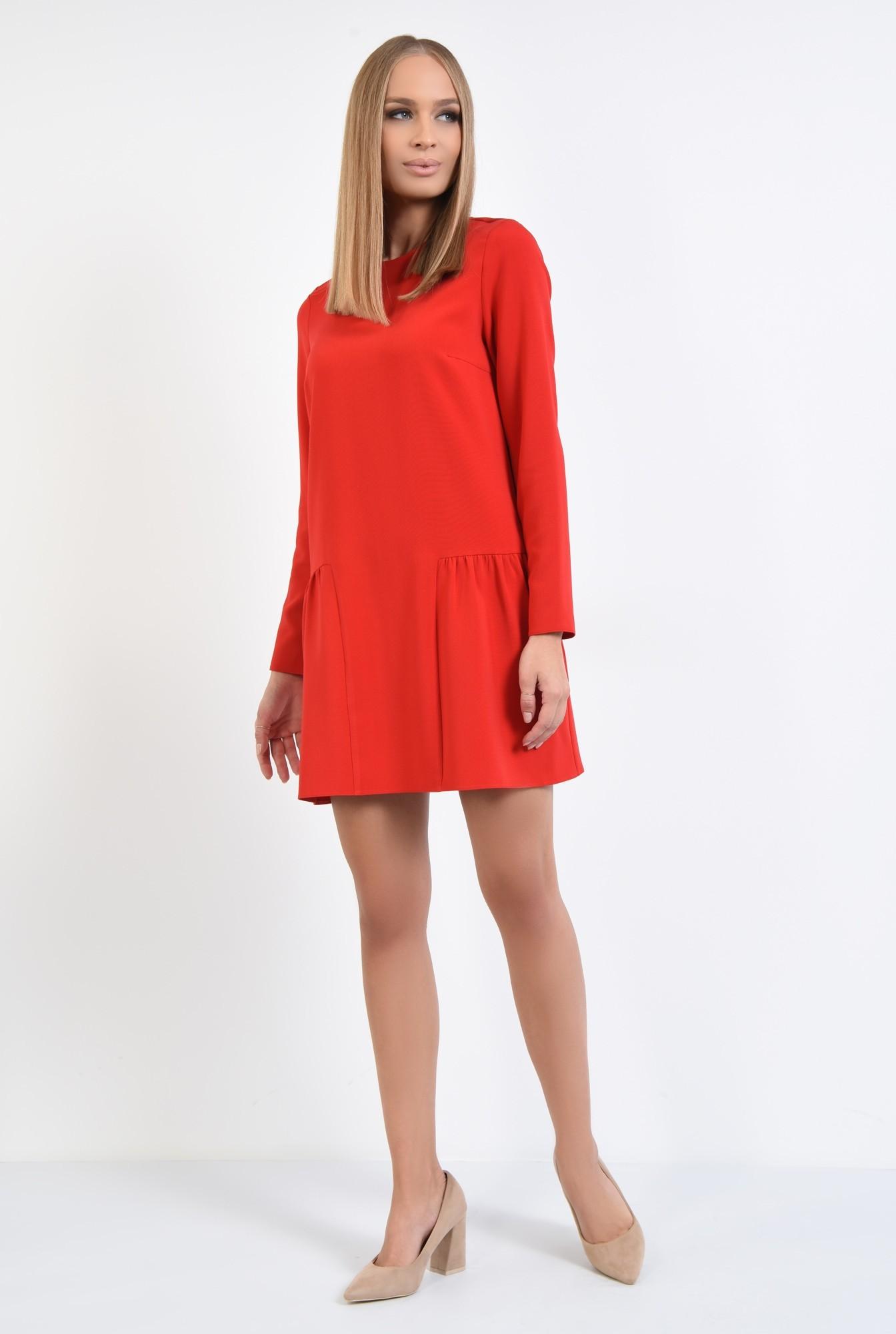 3 - rochie casual, mini, rosu, maneci lungi, decolteu rotund, pliuri