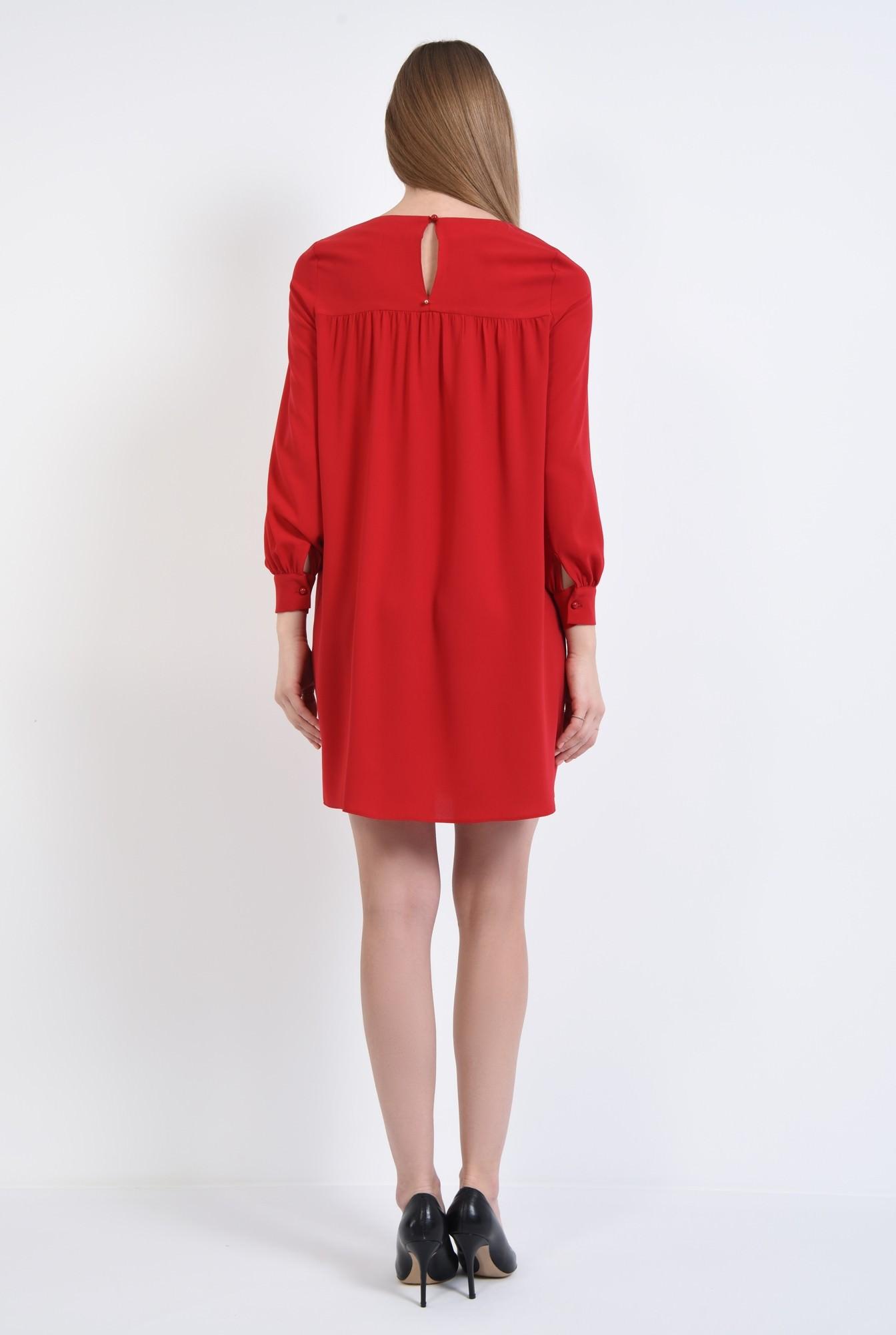 1 - 360 - rochie scurta rosie, croi evazat, tesatura fluida