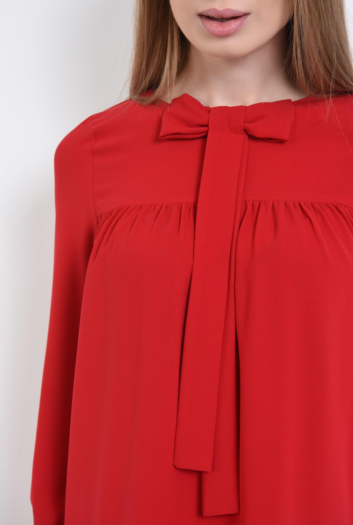 2 - 360 - rochie scurta rosie, croi evazat, tesatura fluida