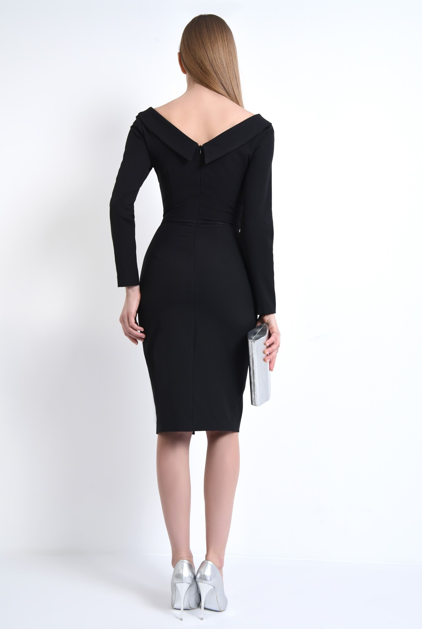 1 - Rochie eleganta neagra, midi