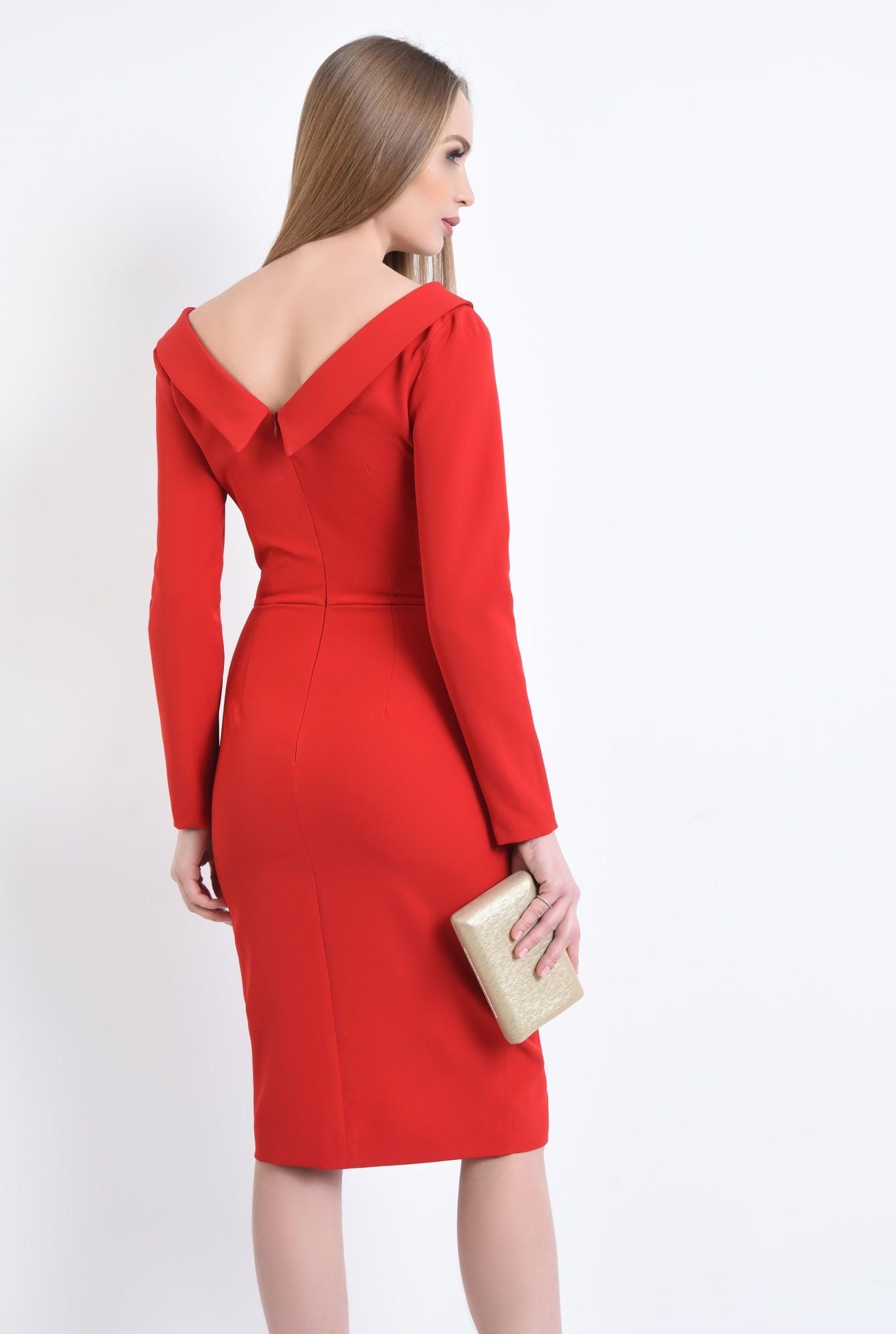 1 - Rochie eleganta rosie, midi