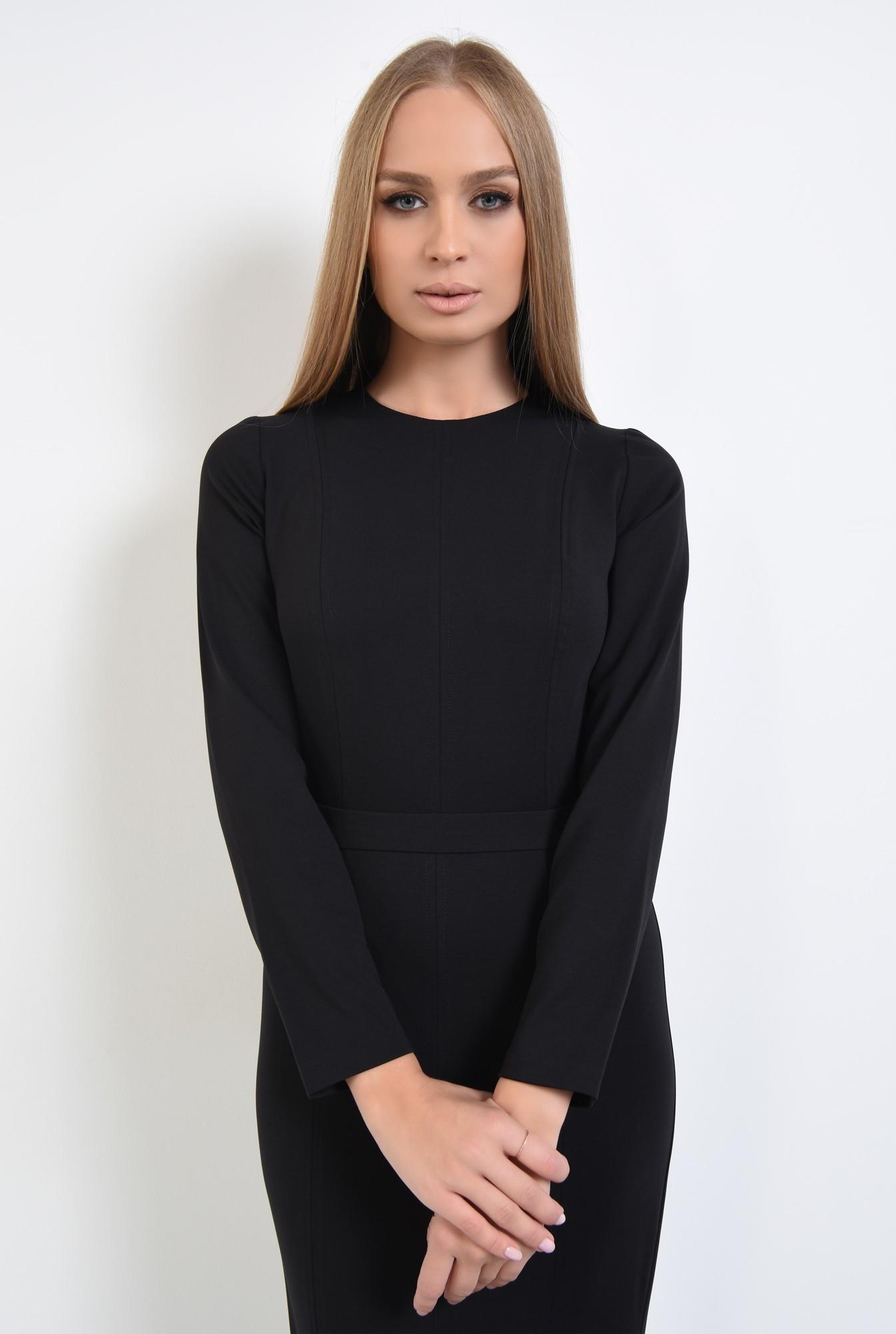 2 - 360 - rochie casual neagra, cusaturi decorative, decolteu rotund la baza gatului