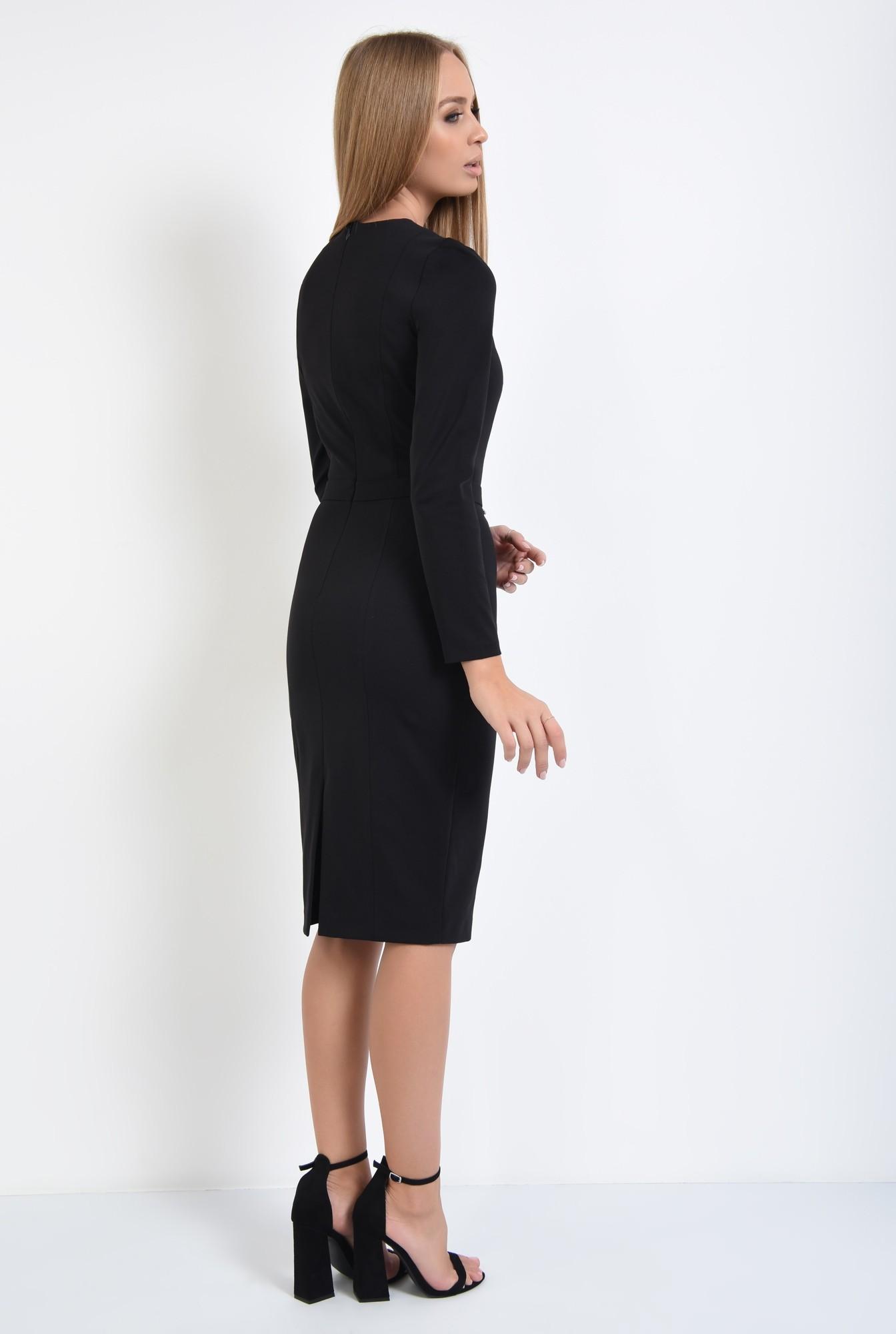 1 - 360 - rochie casual neagra, cusaturi decorative, decolteu rotund la baza gatului