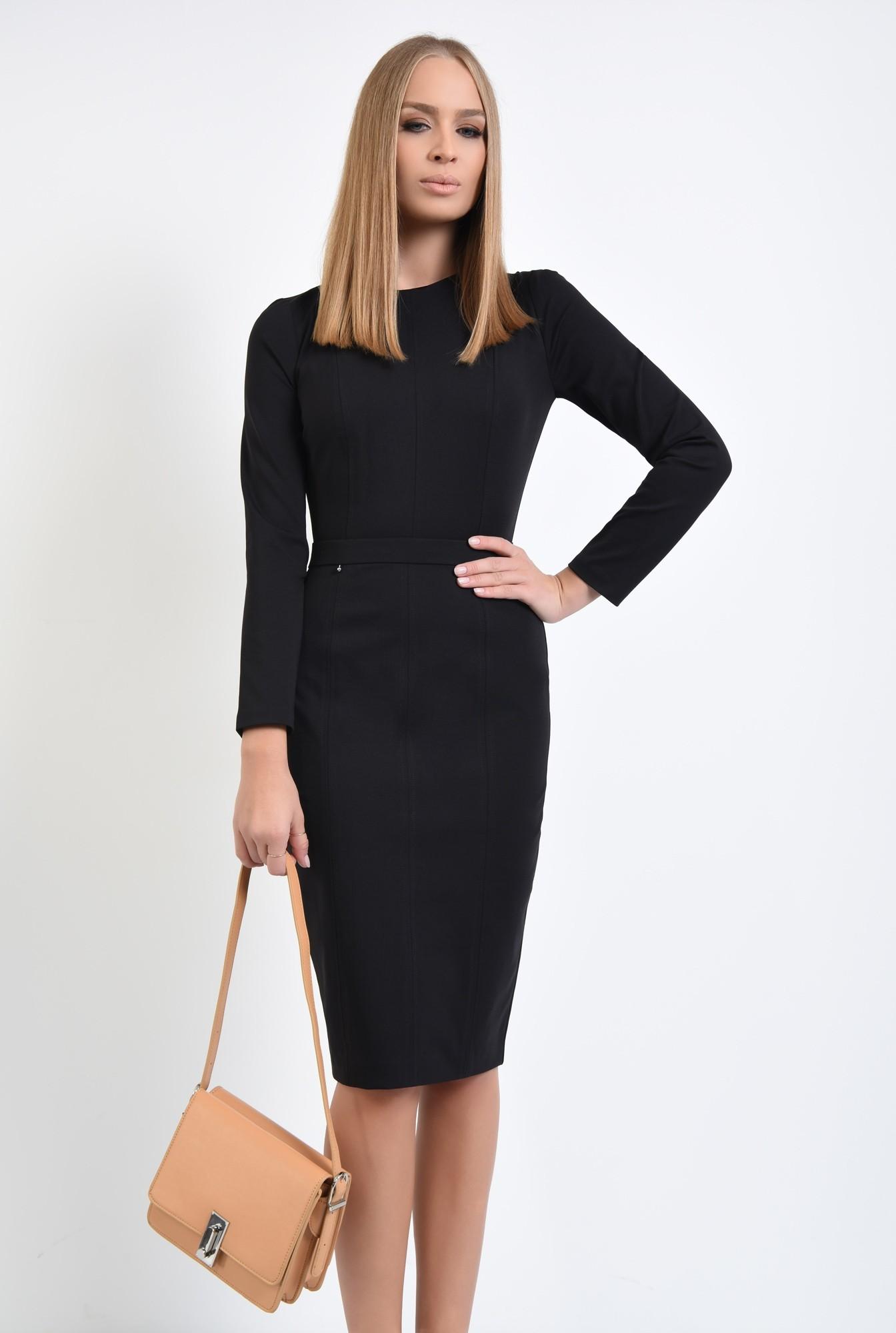 3 - 360 - rochie casual neagra, cusaturi decorative, decolteu rotund la baza gatului
