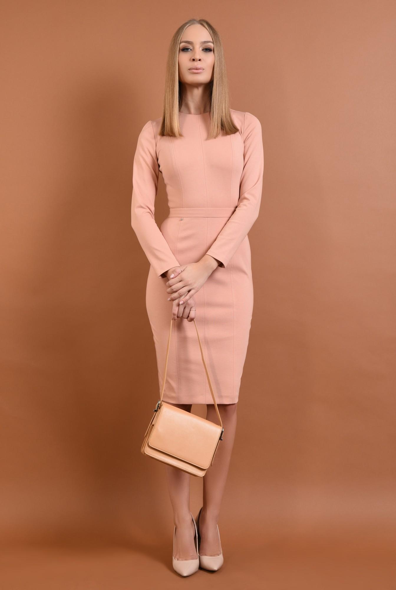 3 - rochie casual, conica, midi, roz piersica, maneci lungi