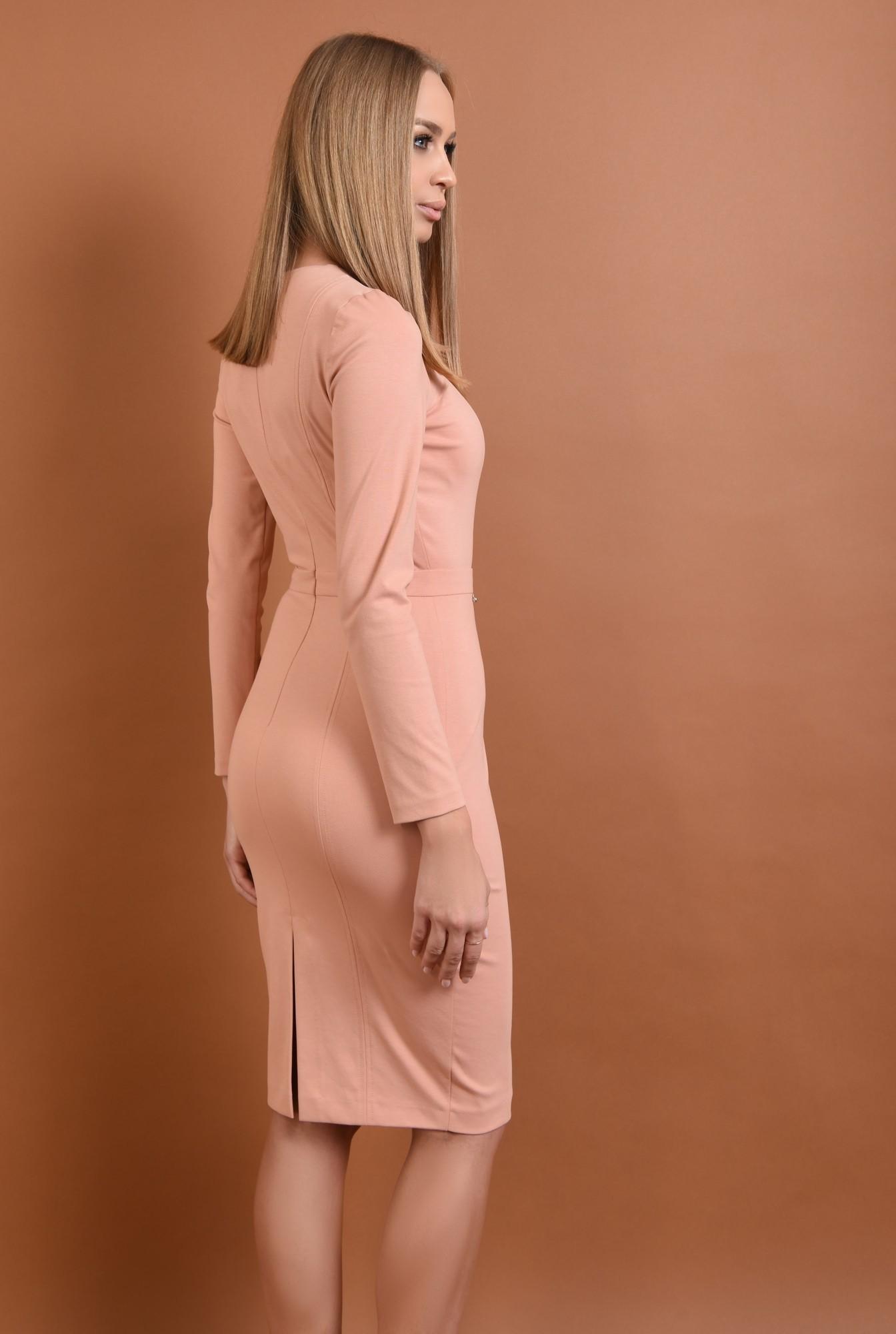 1 - rochie casual, conica, midi, roz piersica, maneci lungi