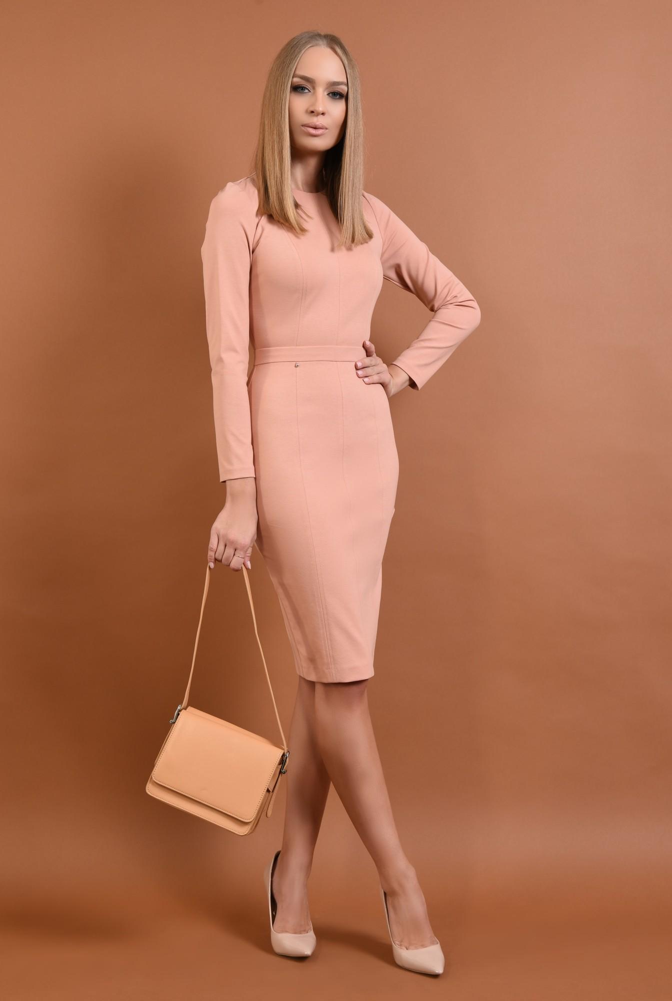0 - rochie casual, conica, midi, roz piersica, maneci lungi