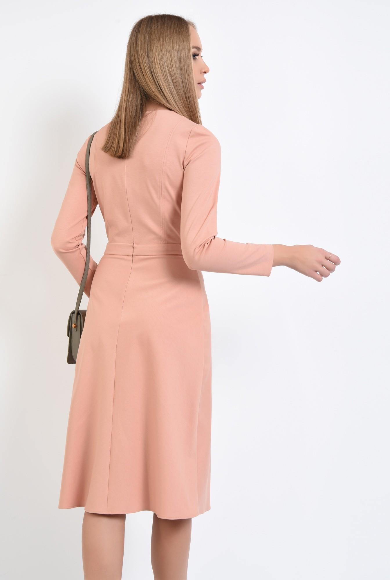 1 - rochie casual, roz piersica, evazata, maneci lungi