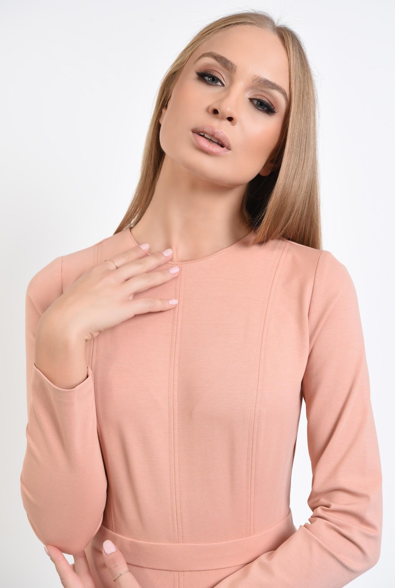 2 - rochie casual, roz piersica, evazata, maneci lungi