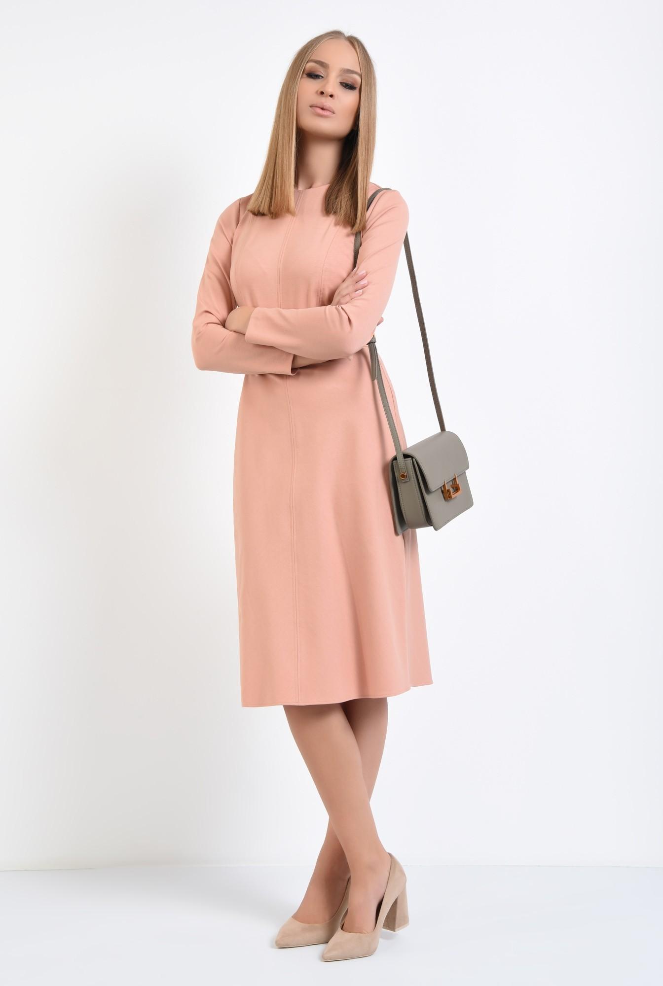 3 - rochie casual, roz piersica, evazata, maneci lungi