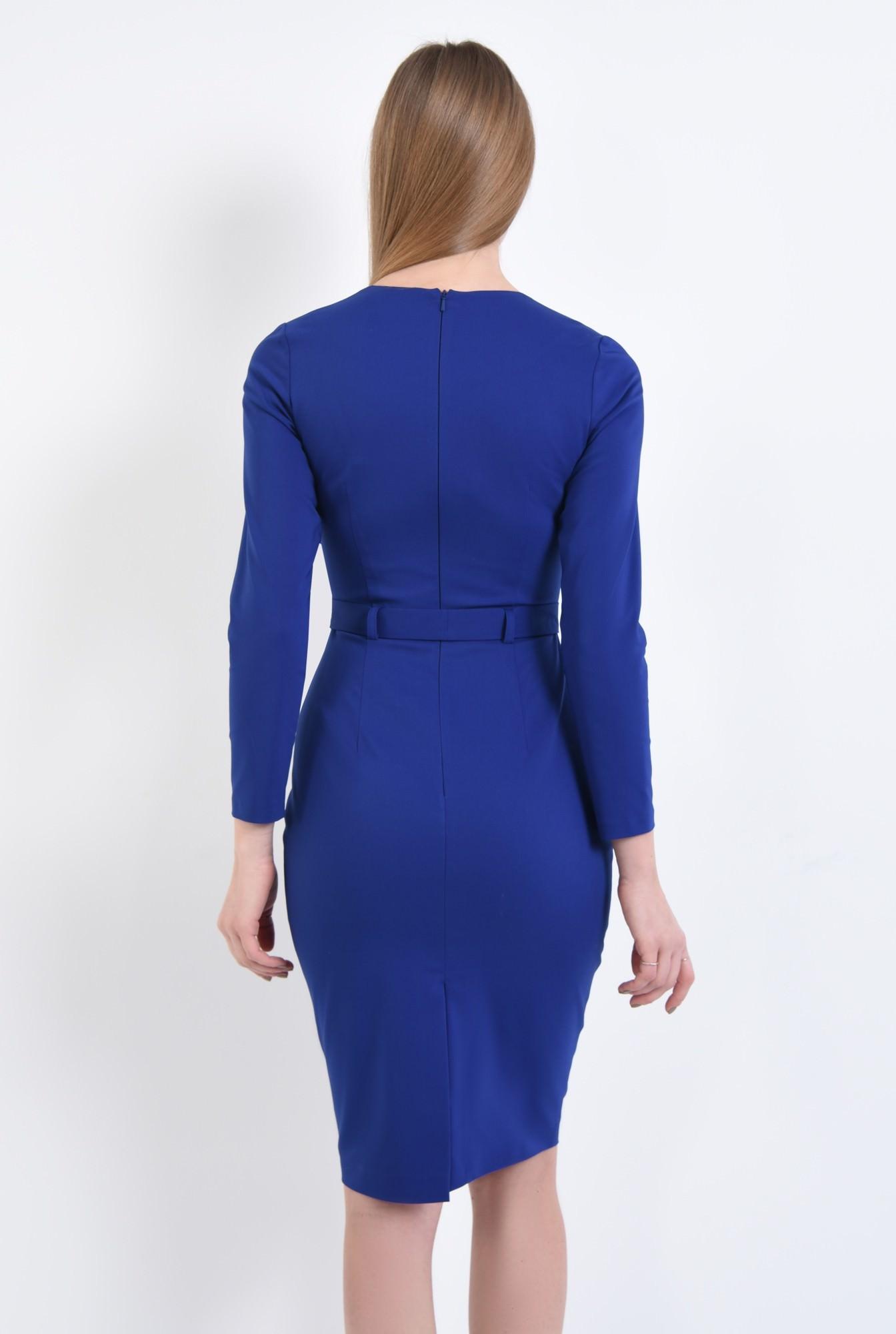 1 - rochie de zi, conica, albastru, cordon