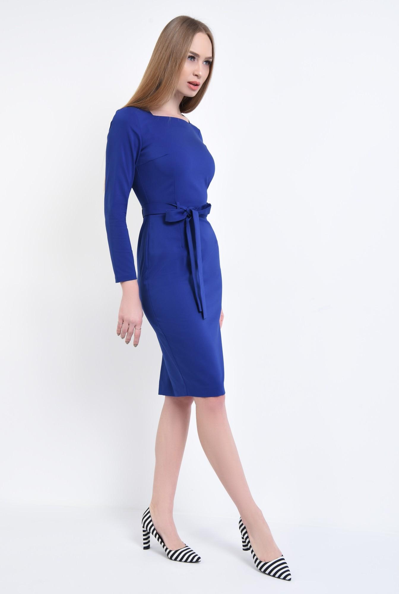 3 - rochie de zi, conica, albastru, cordon