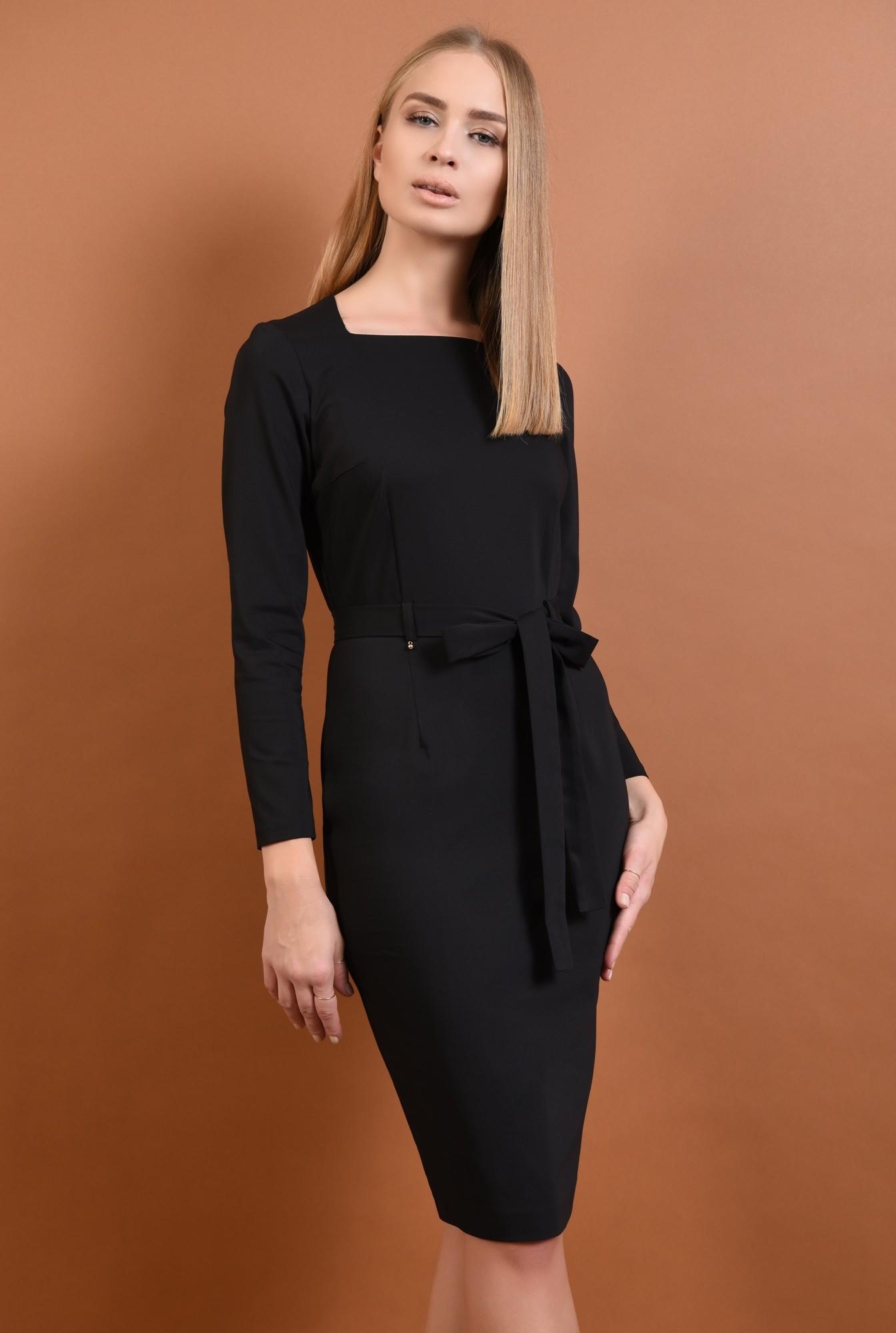 0 - 360 - rochie neagra, casual, rochii online, croi conic, cordon, funda