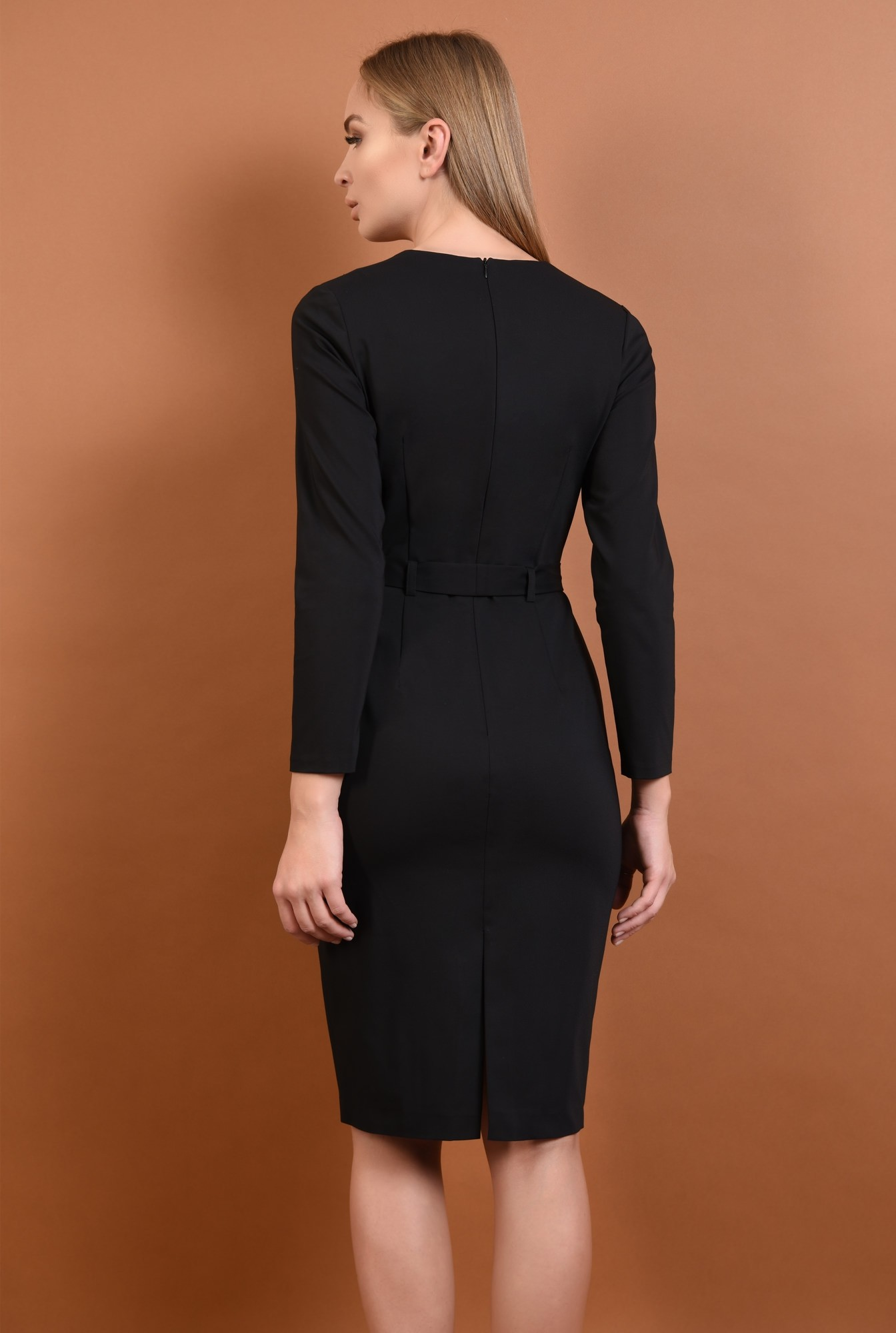 1 - 360 - rochie neagra, casual, rochii online, croi conic, cordon, funda
