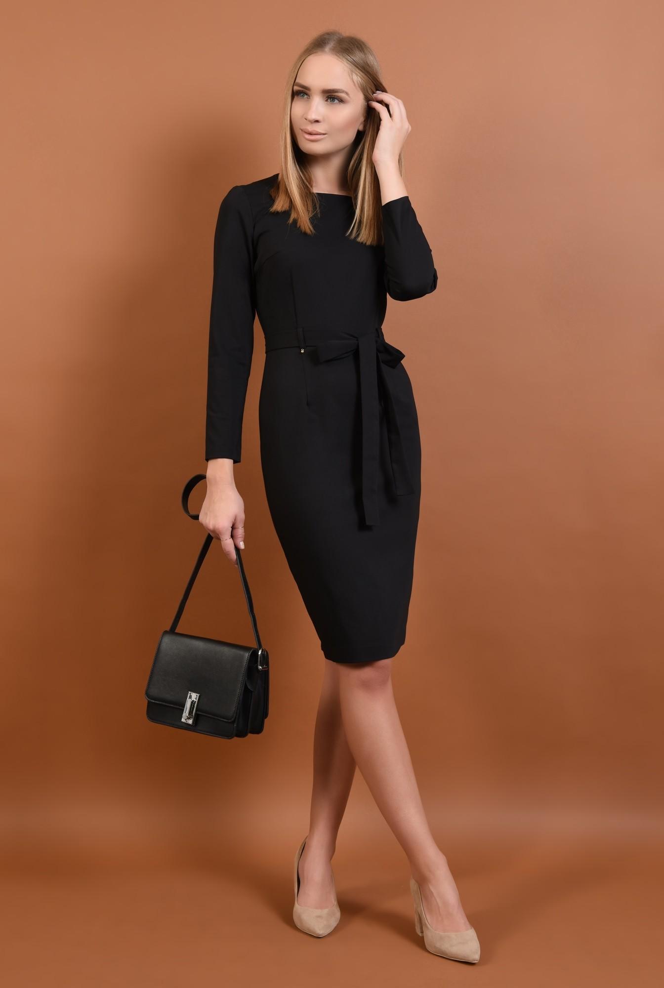 3 - 360 - rochie neagra, casual, rochii online, croi conic, cordon, funda