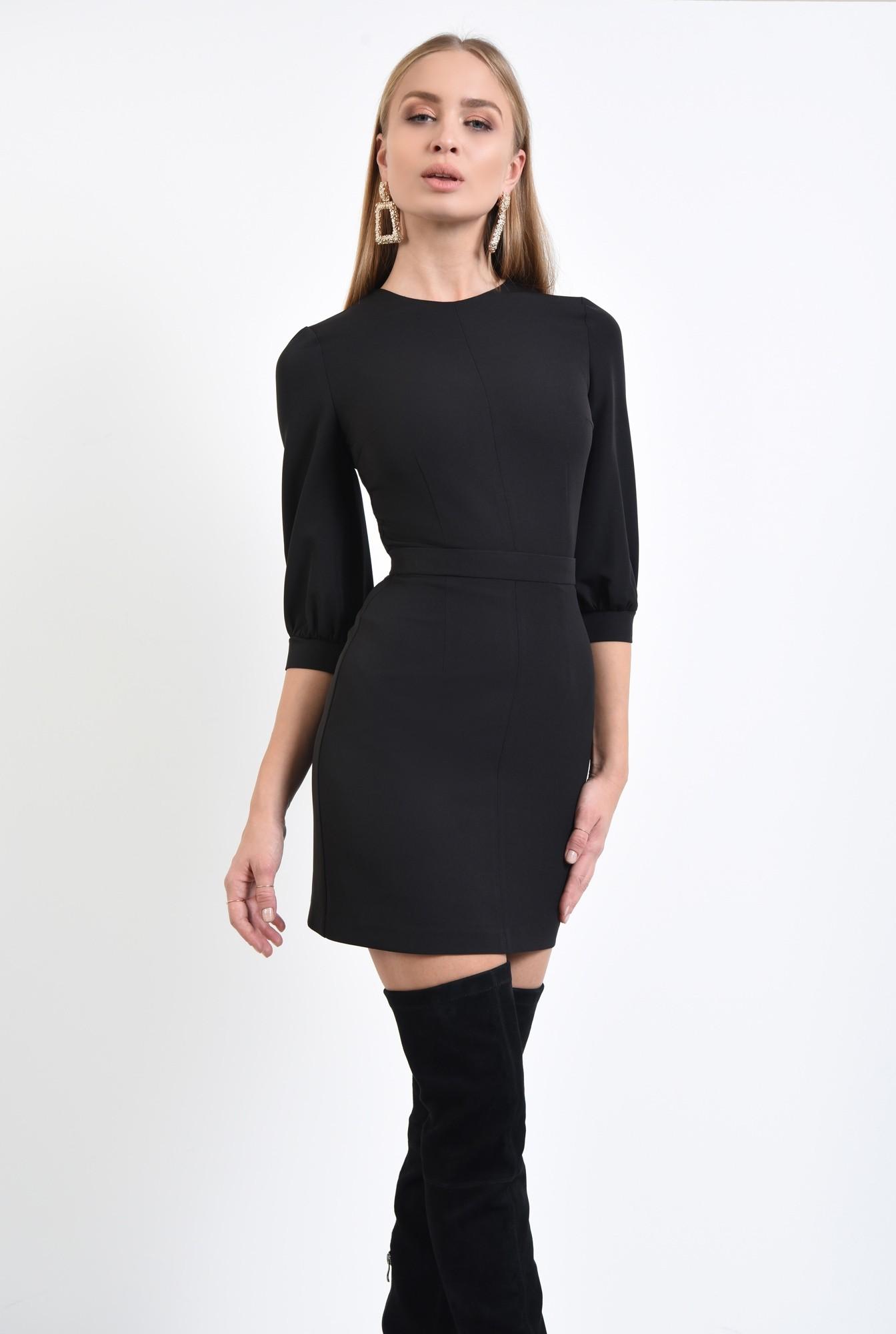 0 - 360 - rochie eleganta conica, betelie ingusta, decolteu rotund la baza gatului. rochii online