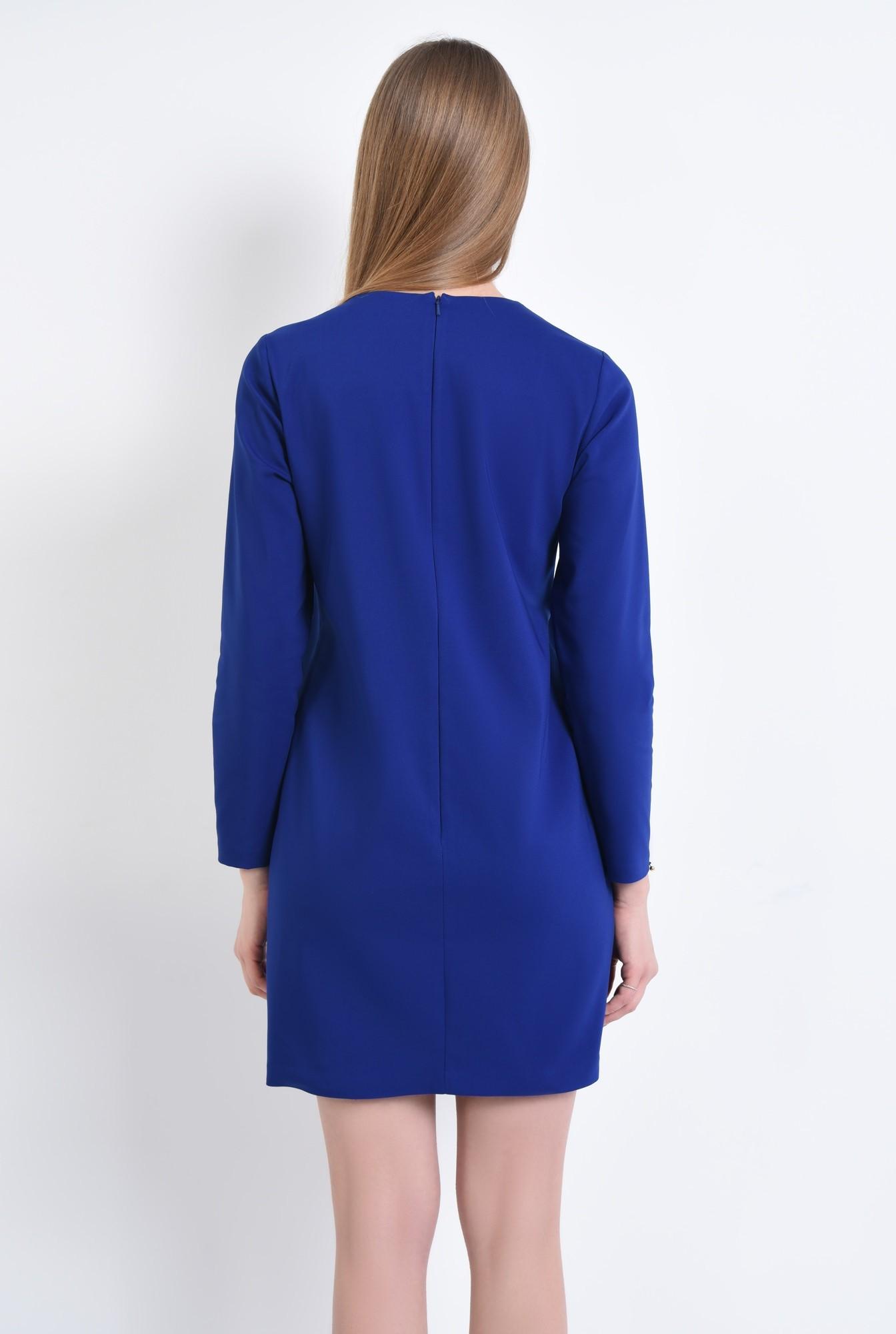 1 - rochie mini, albastru, maneci lungi, decolteu asimetric