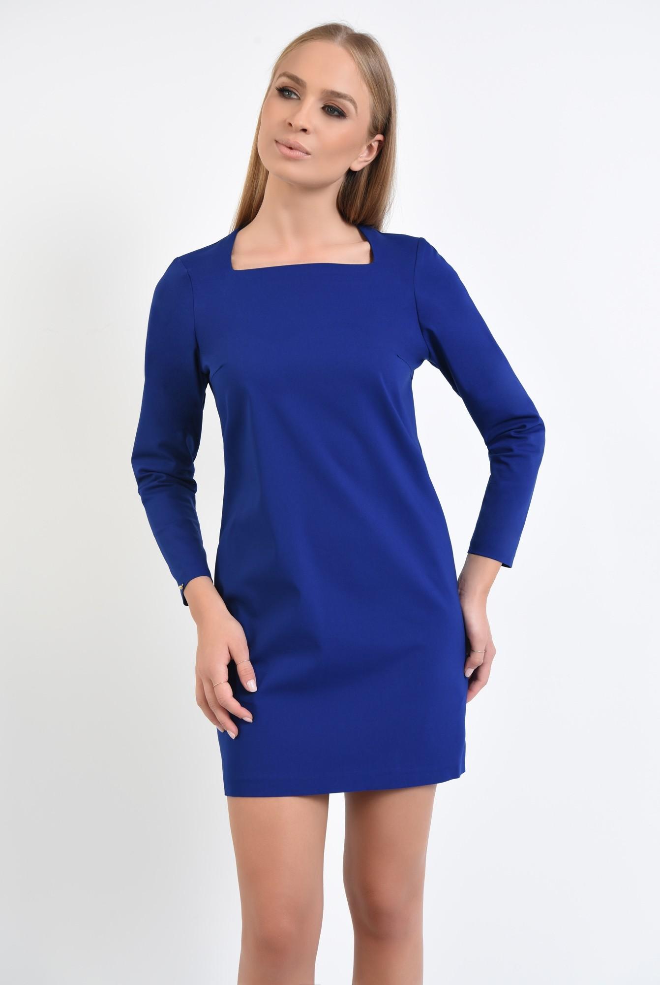 2 - rochie mini, albastru, maneci lungi, decolteu asimetric