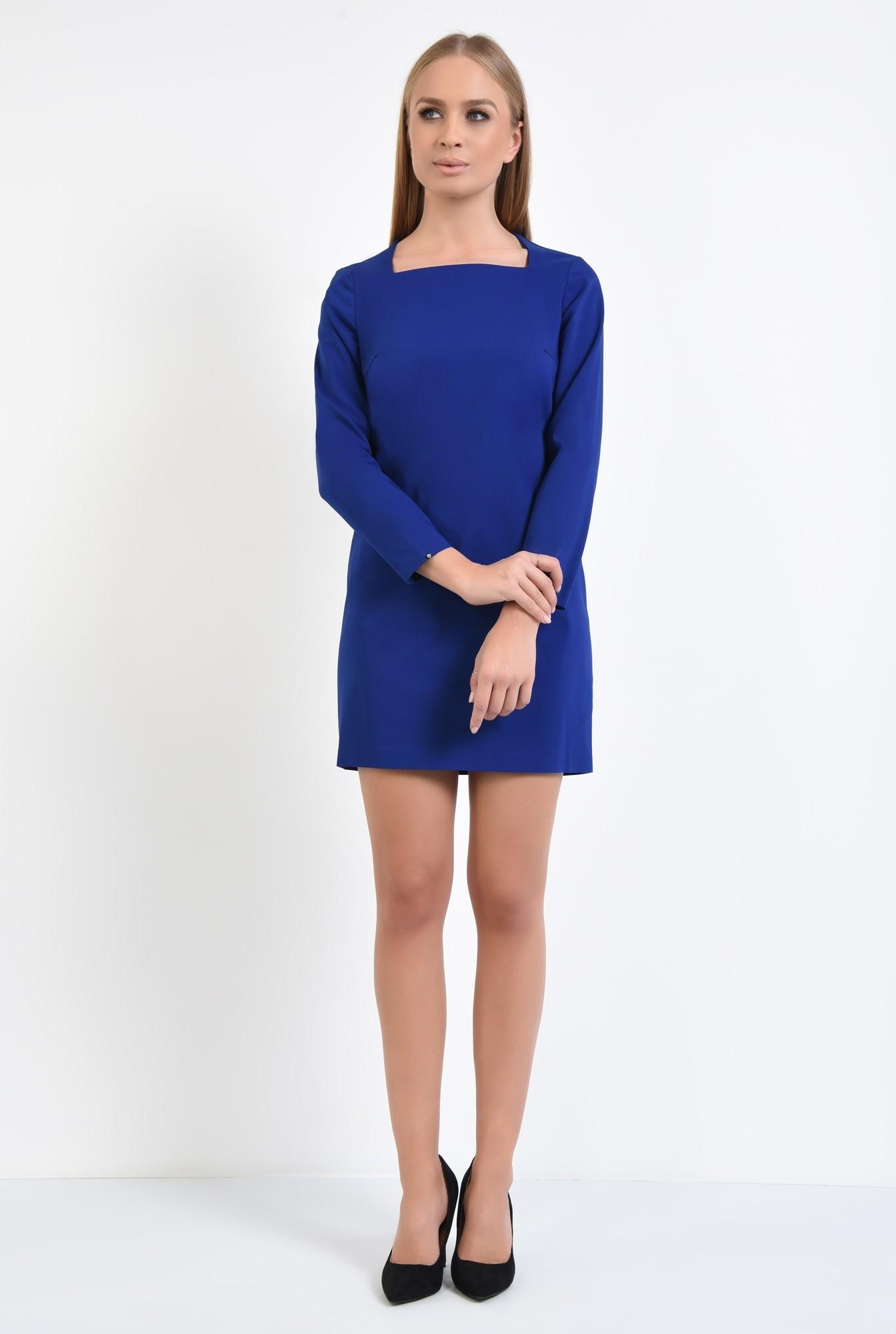 3 - rochie mini, albastru, maneci lungi, decolteu asimetric