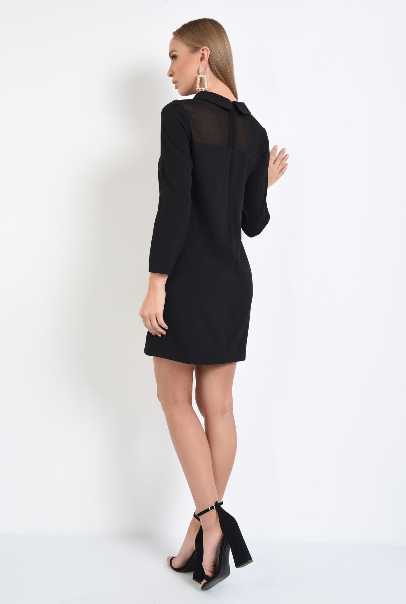 1 - rochie eleganta, croi drept, amneci lungi, insertie transparenta