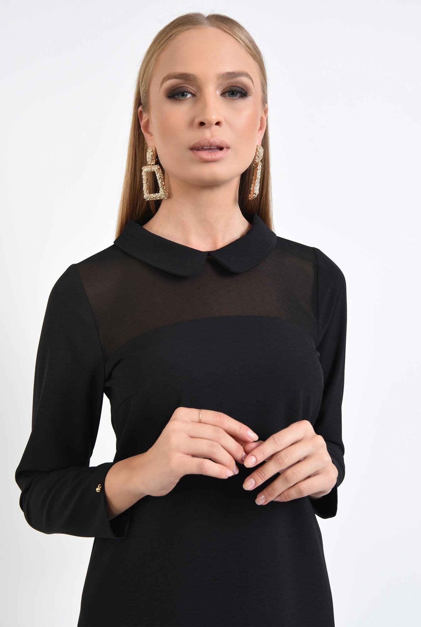 2 - rochie eleganta, croi drept, amneci lungi, insertie transparenta