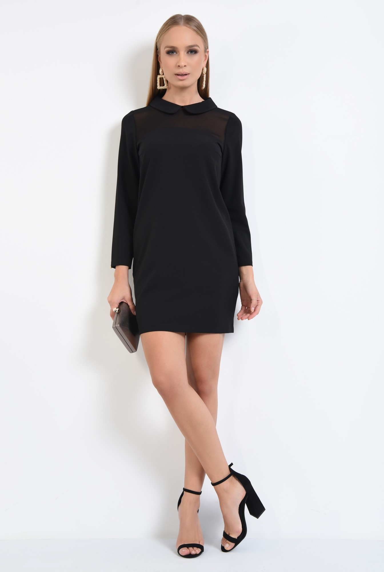 3 - rochie eleganta, croi drept, amneci lungi, insertie transparenta