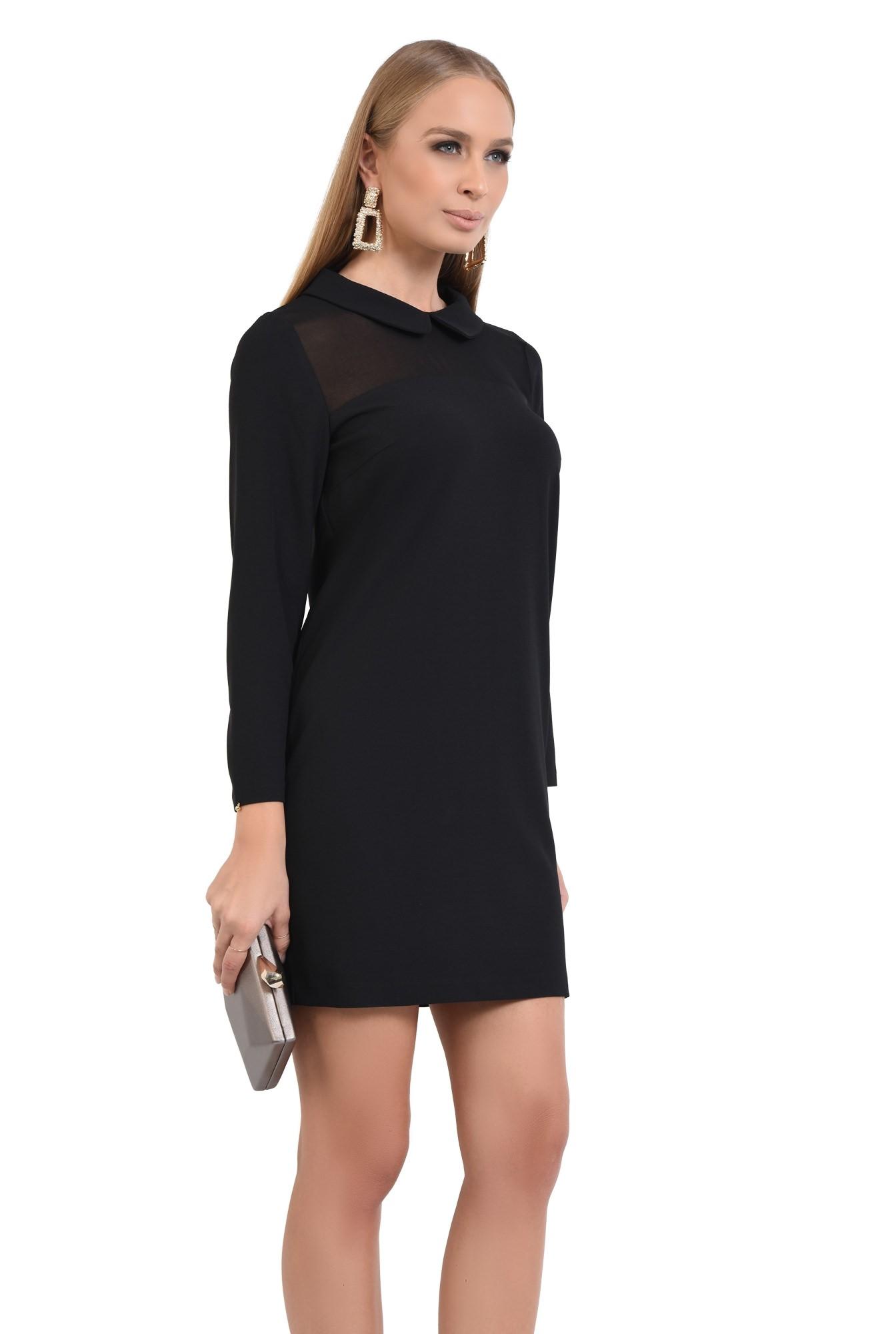 0 - rochie eleganta, croi drept, amneci lungi, insertie transparenta