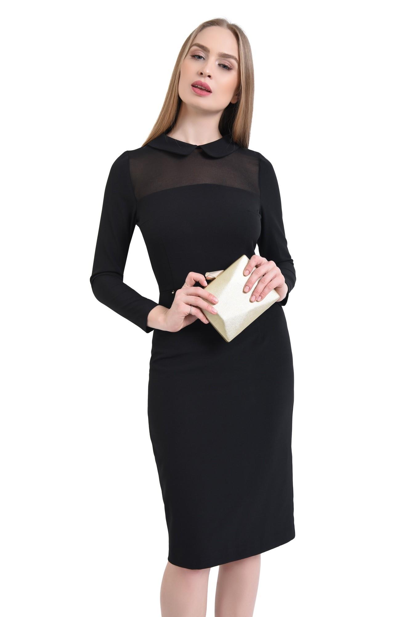 0 - rochie eleganta, midi, conica, guler rotunjit