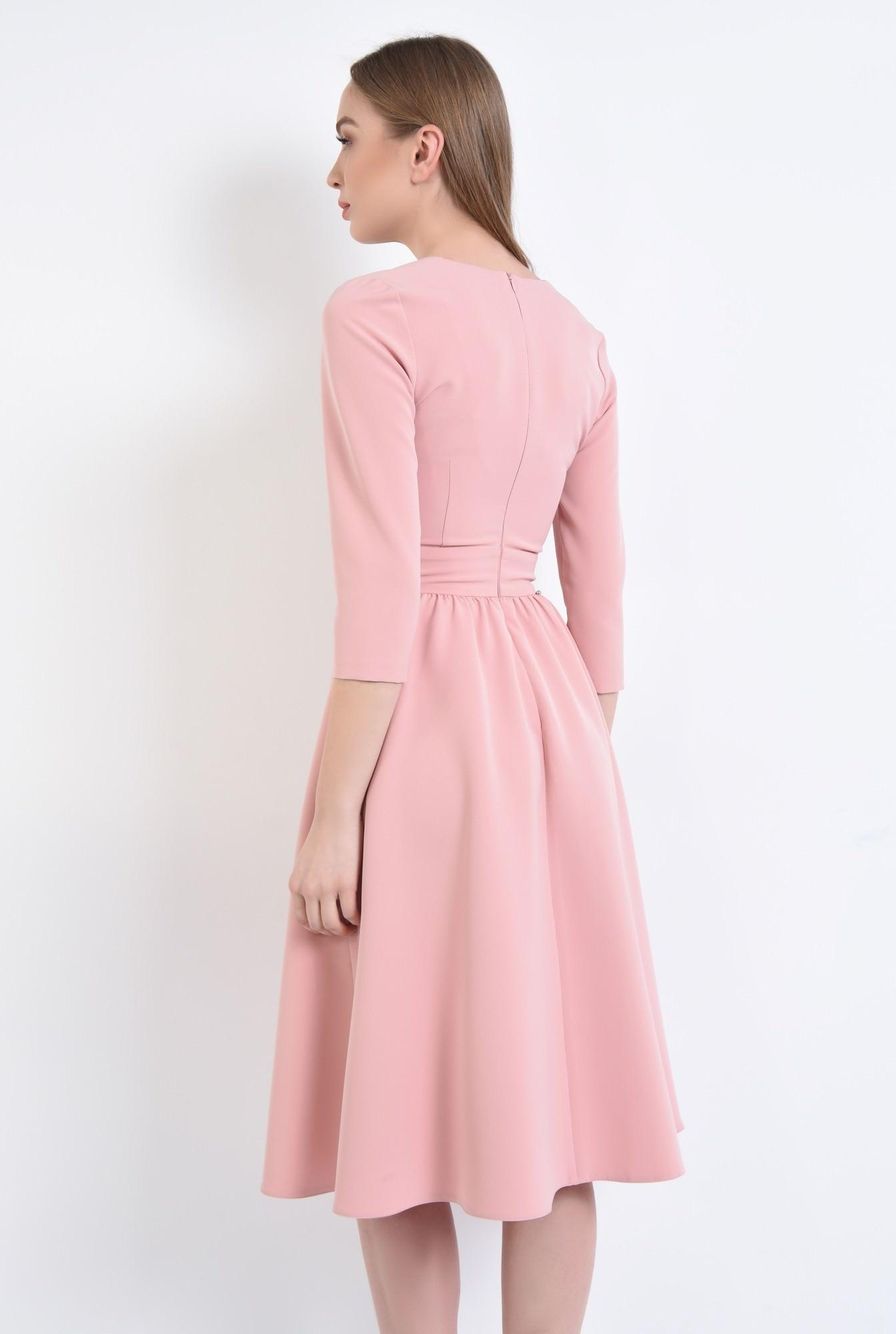 1 - 360 - Rochie casual roz, midi