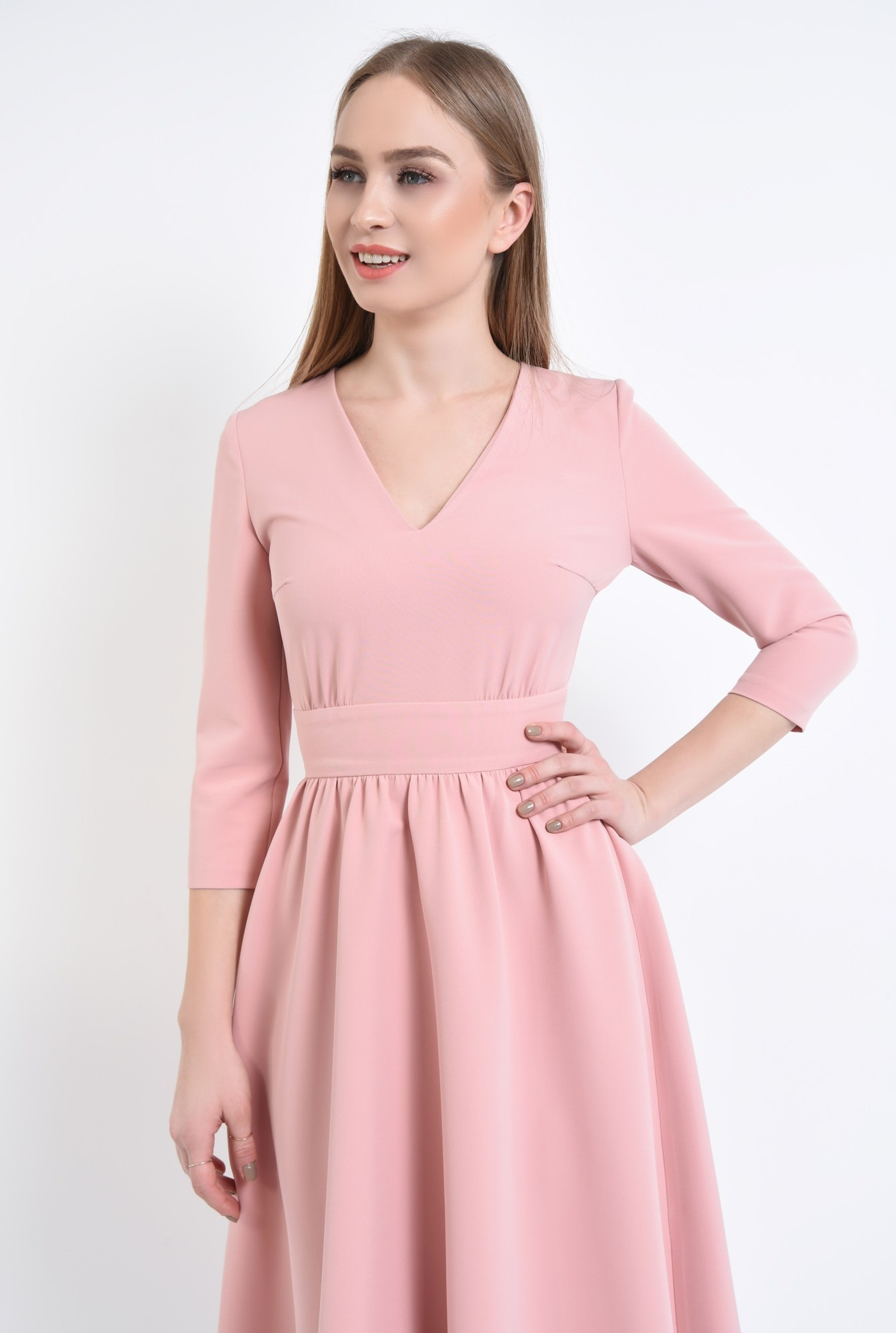 2 - 360 - Rochie casual roz, midi
