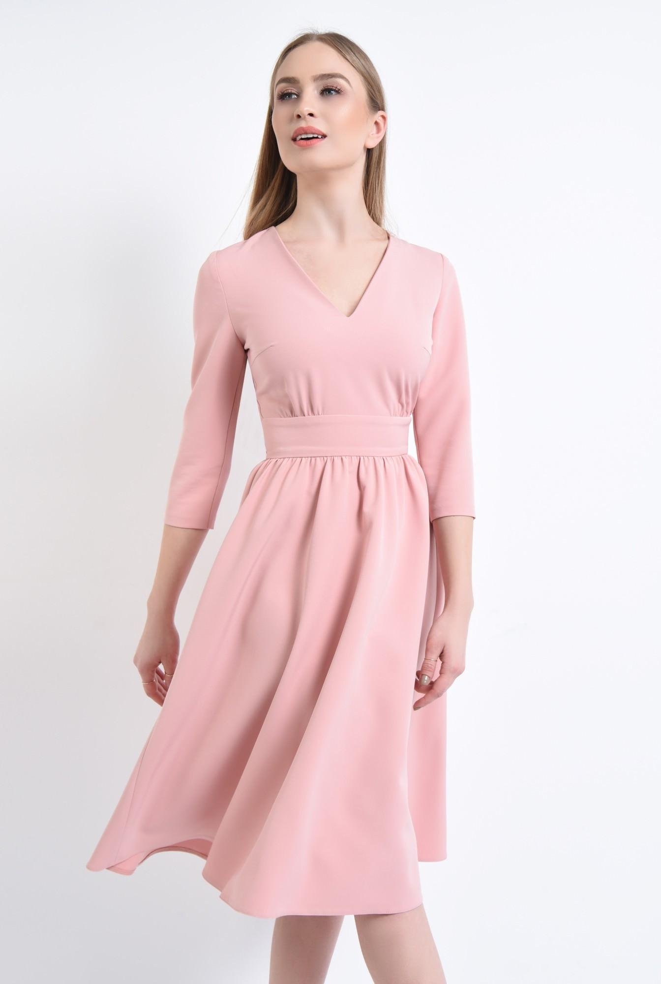 0 - 360 - Rochie casual roz, midi