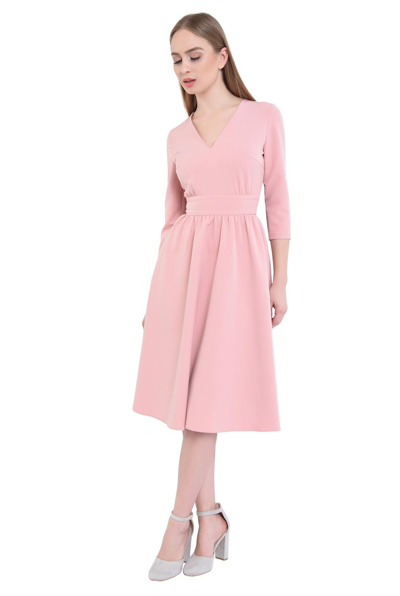 3 - 360 - Rochie casual roz, midi