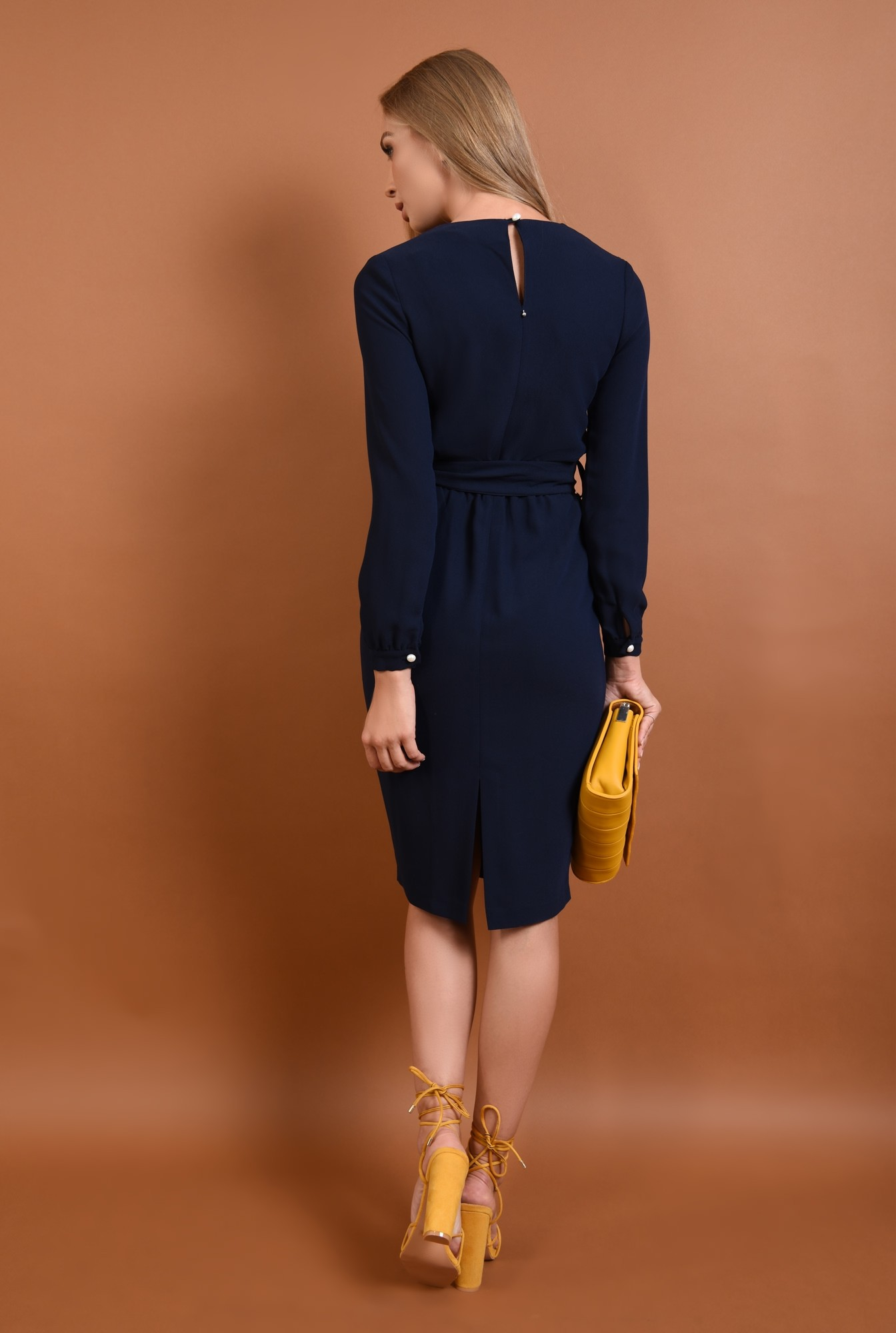 1 - rochie de zi, midi, albastru, bleumarin, maneci lungi, mansete