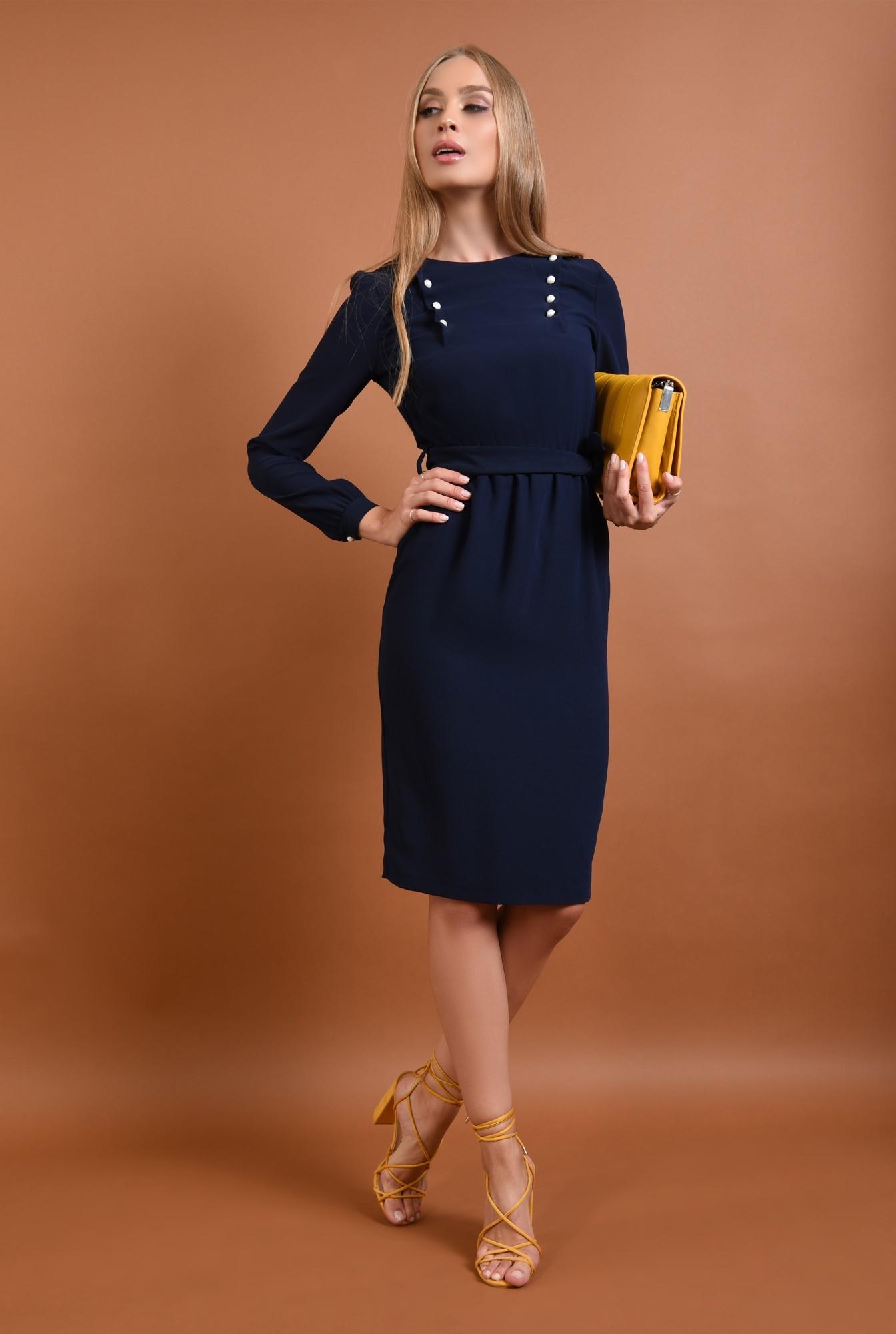 3 - rochie de zi, midi, albastru, bleumarin, maneci lungi, mansete