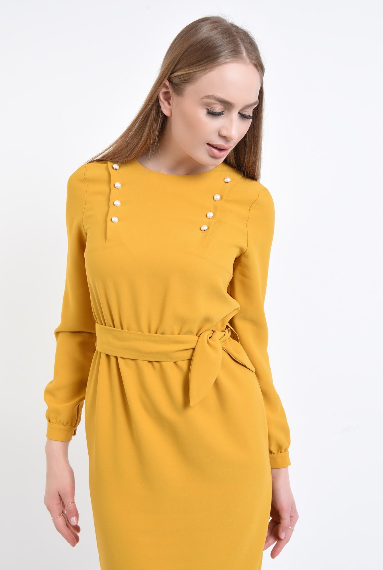 2 - rochie de zi, conica, galben, mustar, perle