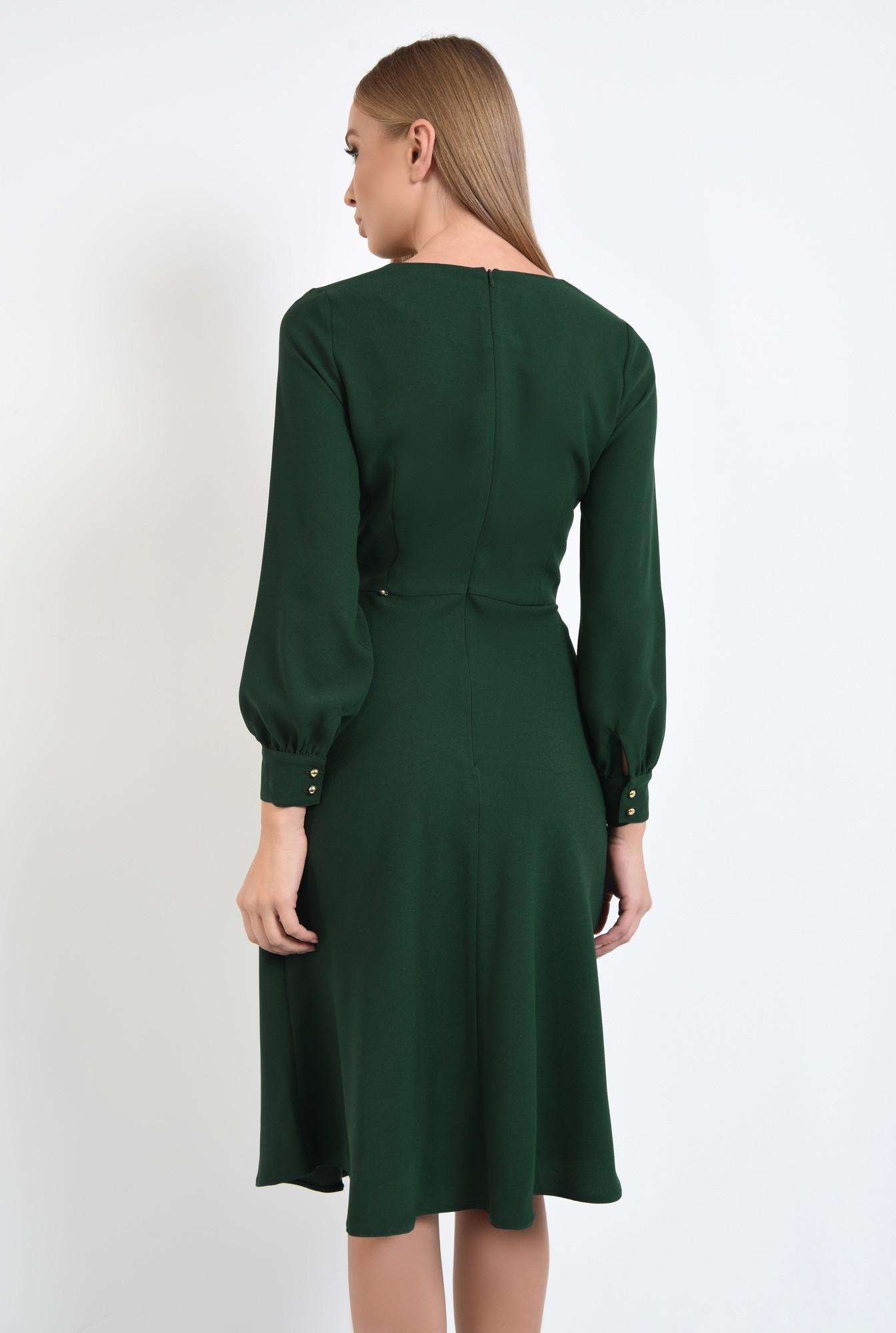1 - rochie de zi, verde, midi, maneci lungi