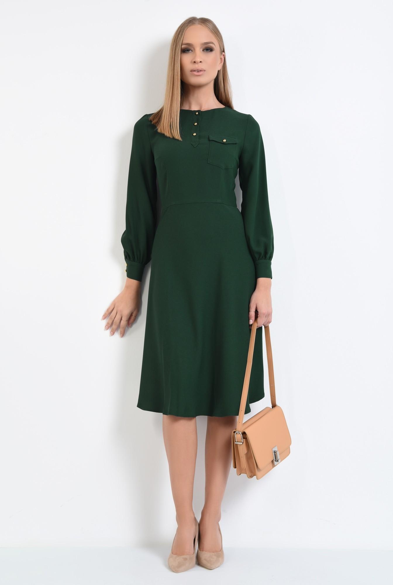 3 - rochie de zi, verde, midi, maneci lungi