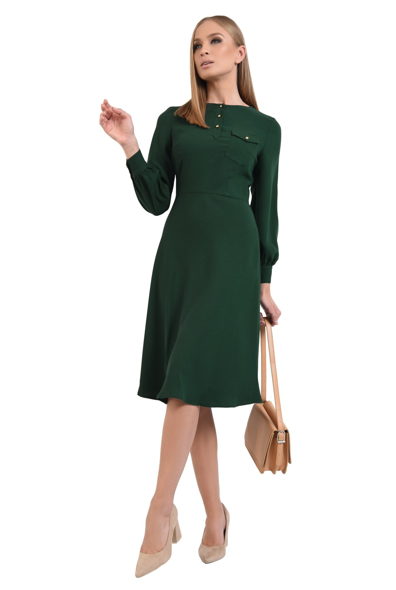 0 - rochie de zi, verde, midi, maneci lungi