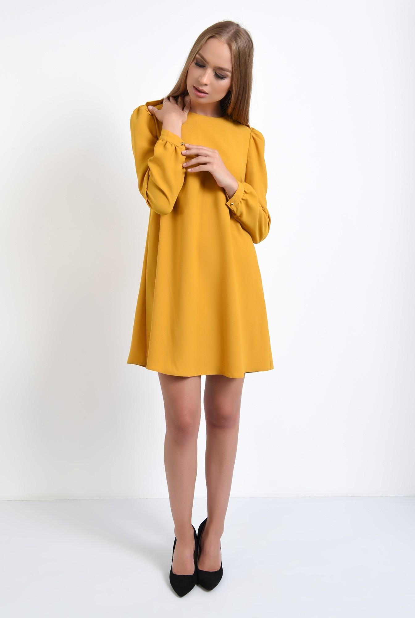 3 - rochie casual, scurta, mustar, evazata