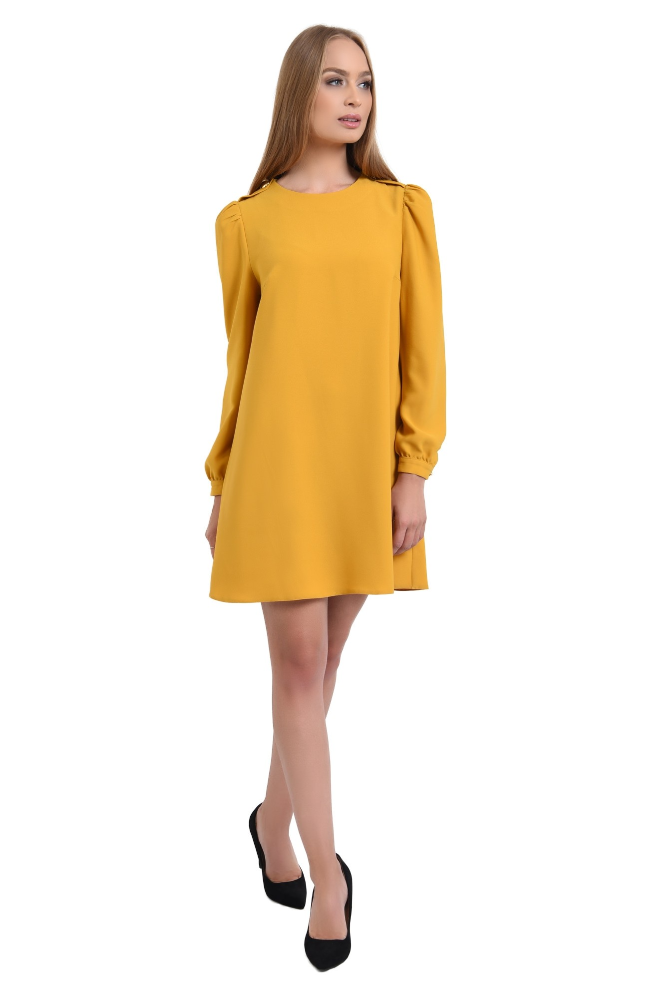 0 - rochie casual, scurta, mustar, evazata