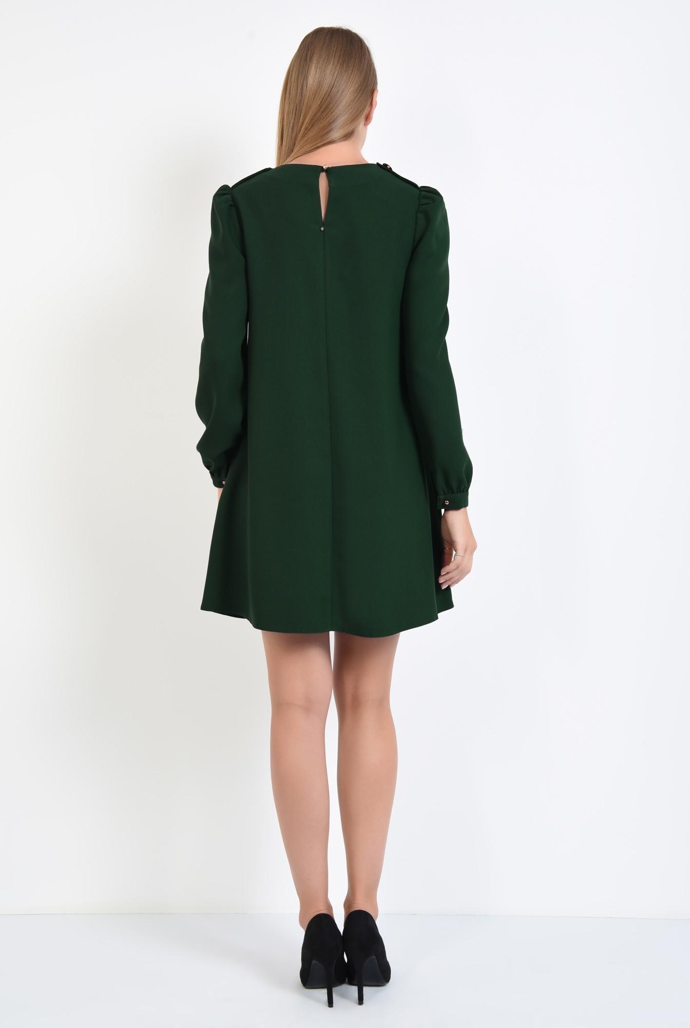 1 - 360 - rochie de zi, croi evazat, verde inchis, epoleti, cu nasture fantezie