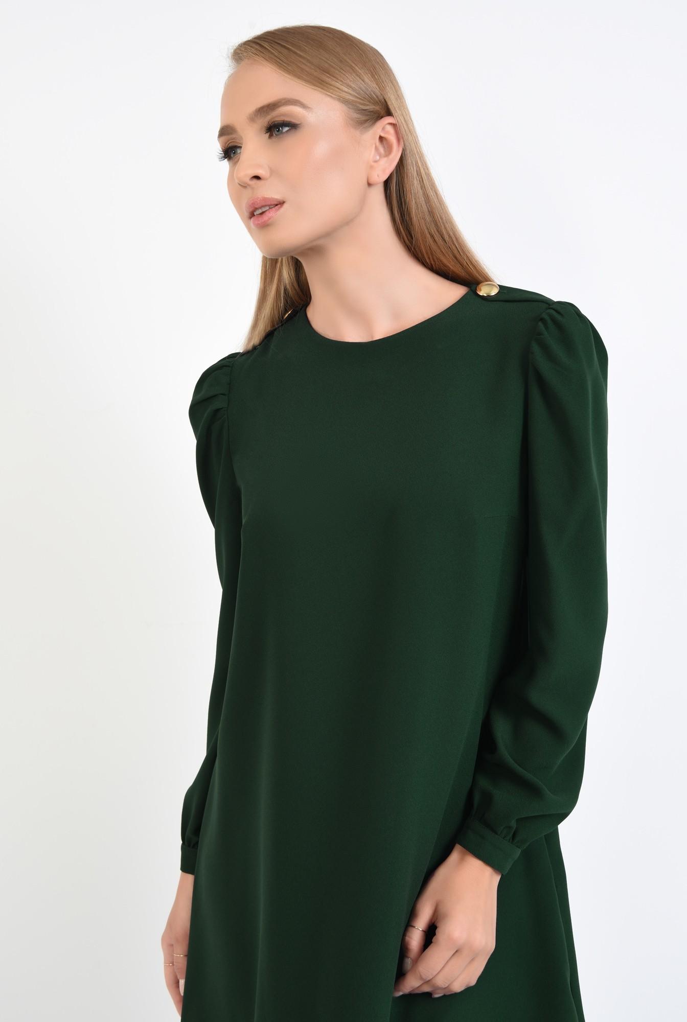 2 - 360 - rochie de zi, croi evazat, verde inchis, epoleti, cu nasture fantezie
