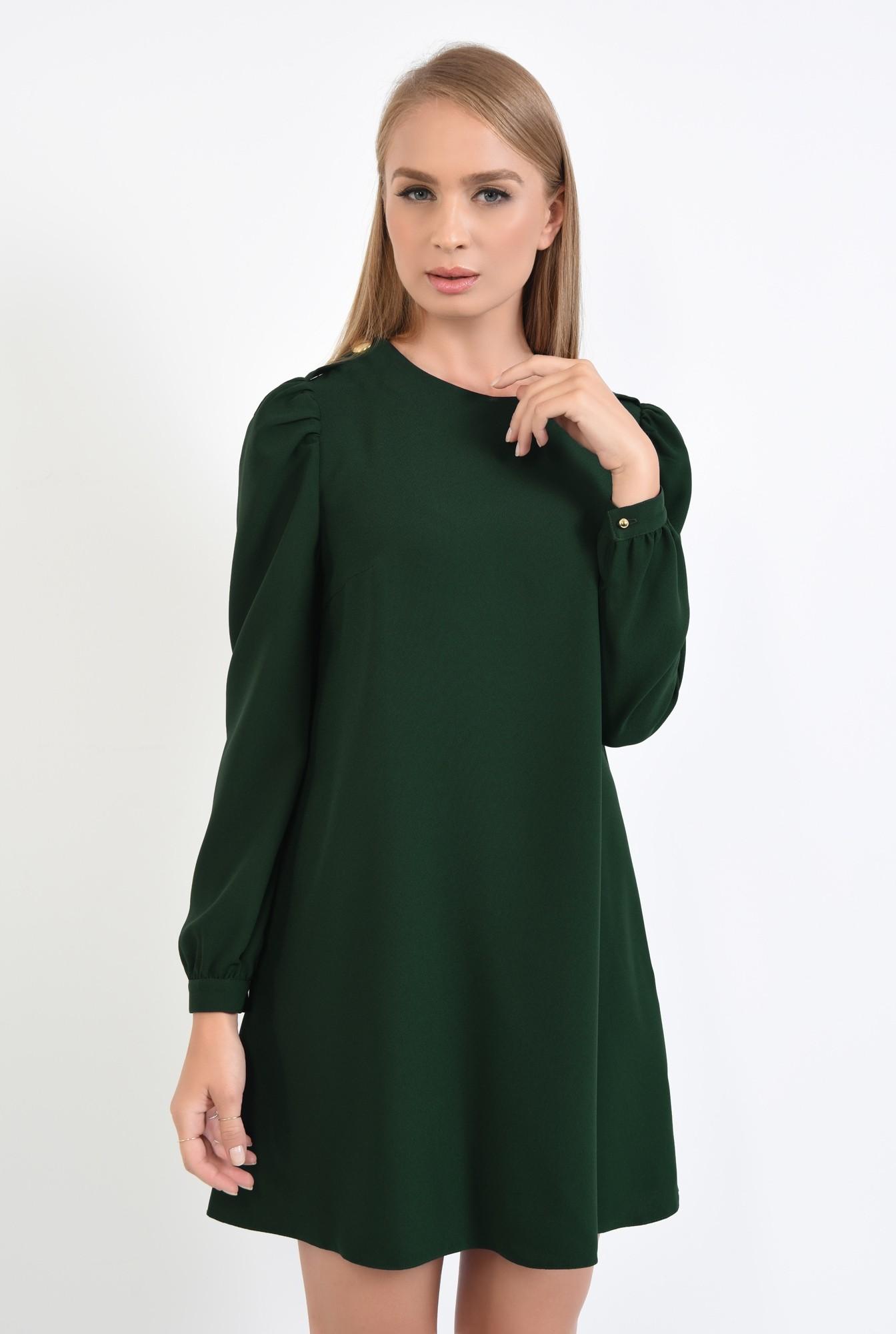 0 - 360 - rochie de zi, croi evazat, verde inchis, epoleti, cu nasture fantezie