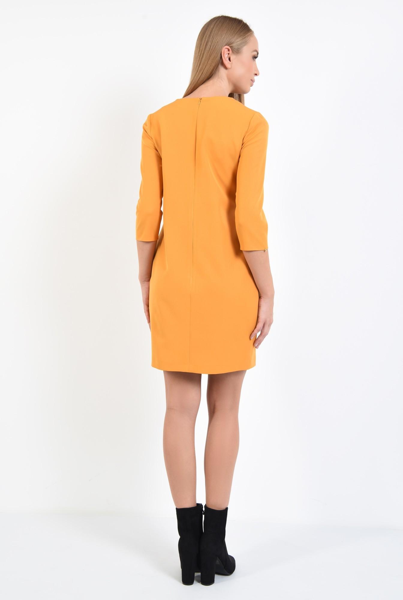 1 - 360 - rochie casual, galben mustar, croi drept lejer, maneci tubulare, rips negru, rochii online