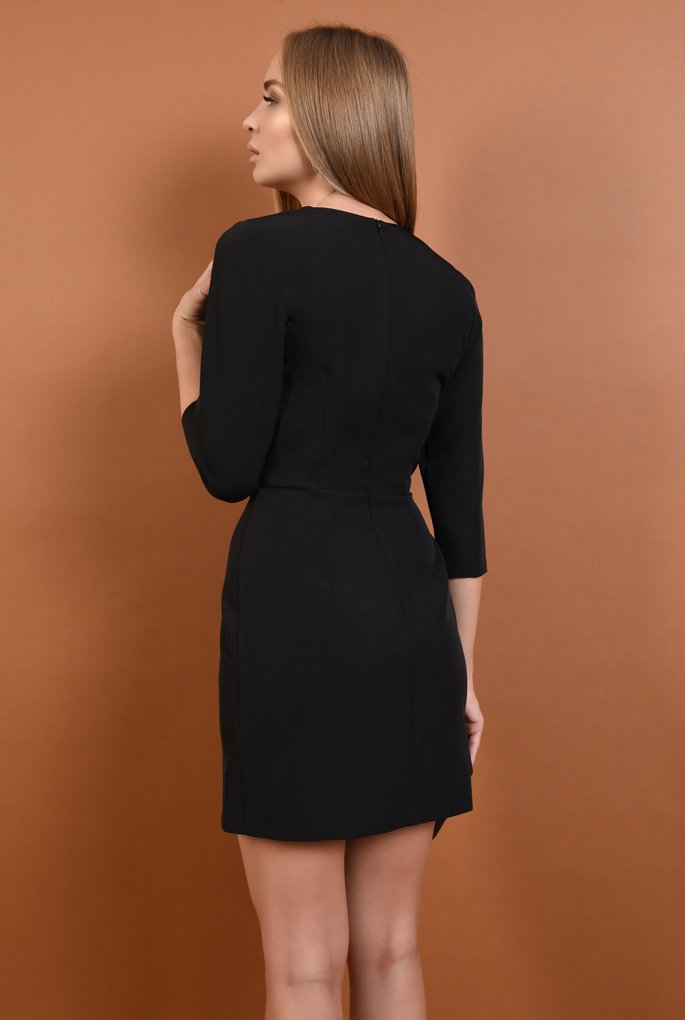 1 - 360 - rochie eleganta, cu volane, dantela aplicata, mini, croi cambrat, rochii online