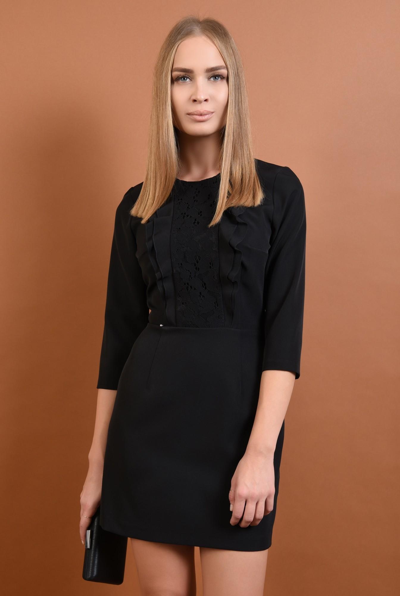 0 - 360 - rochie eleganta, cu volane, dantela aplicata, mini, croi cambrat, rochii online