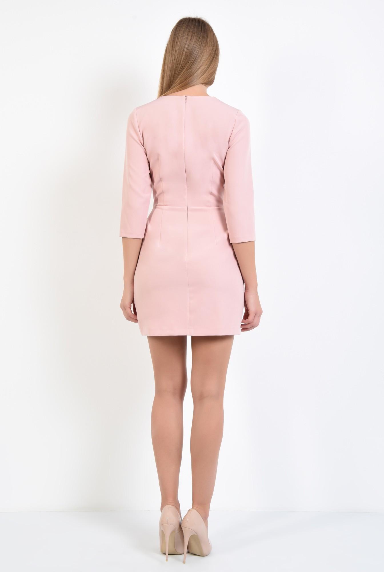 1 - rochie de ocazie, scurta, roz, volane, decolteu rotund